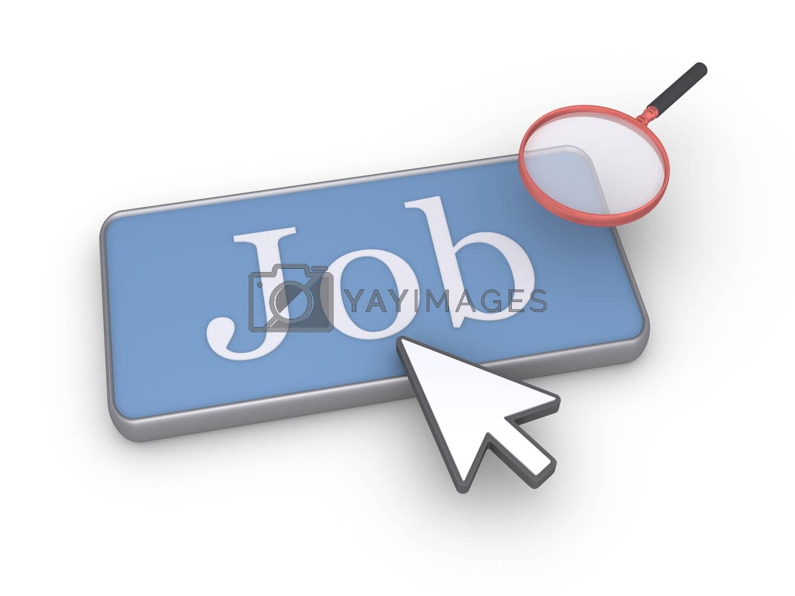 Job word on button with a mouse pointer and a magnifier