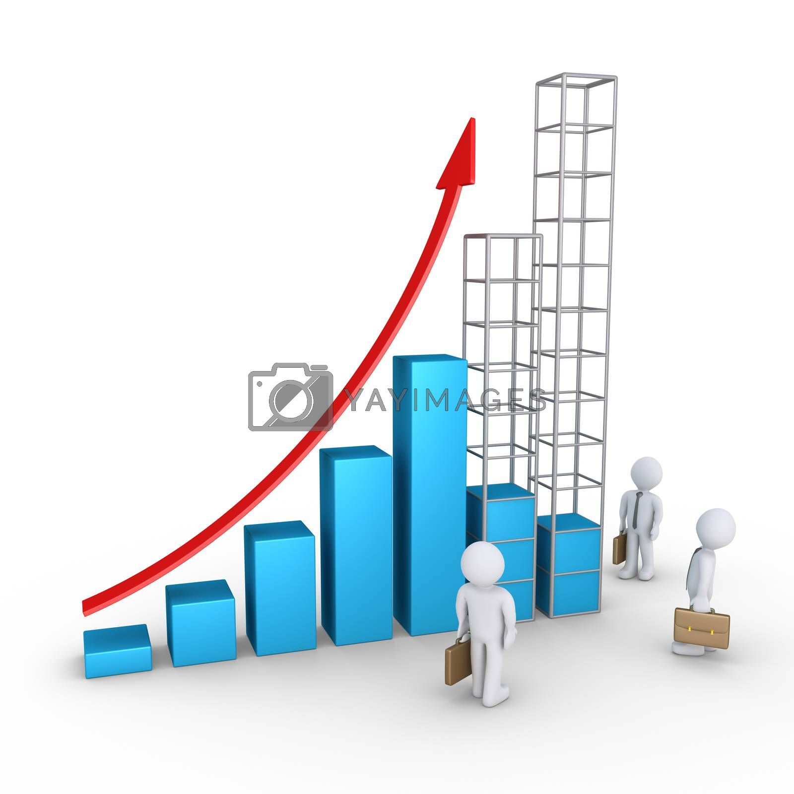 Rising graphic chart with businessmen and two columns are being build