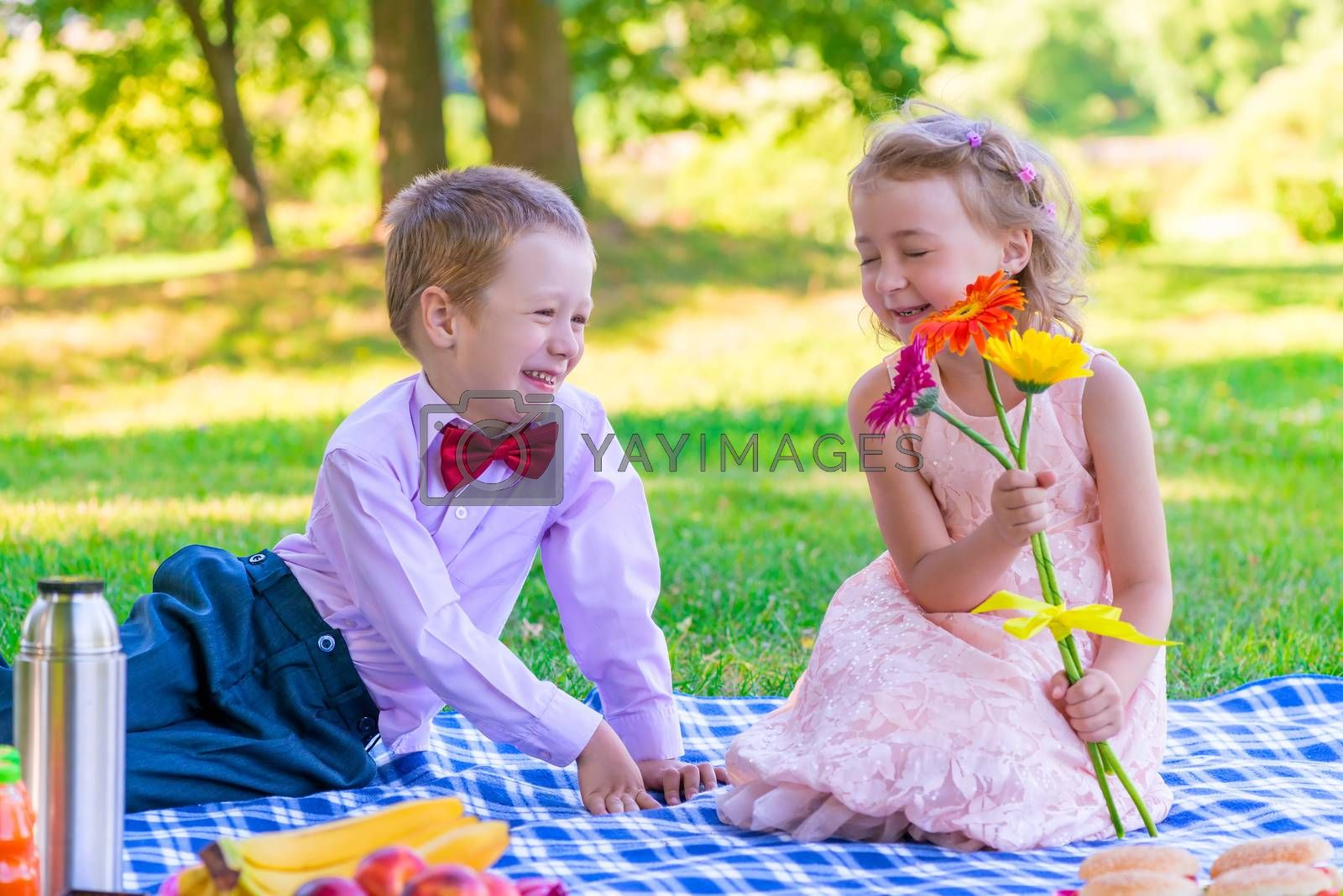 gentleman and a happy little lady on a date at the park