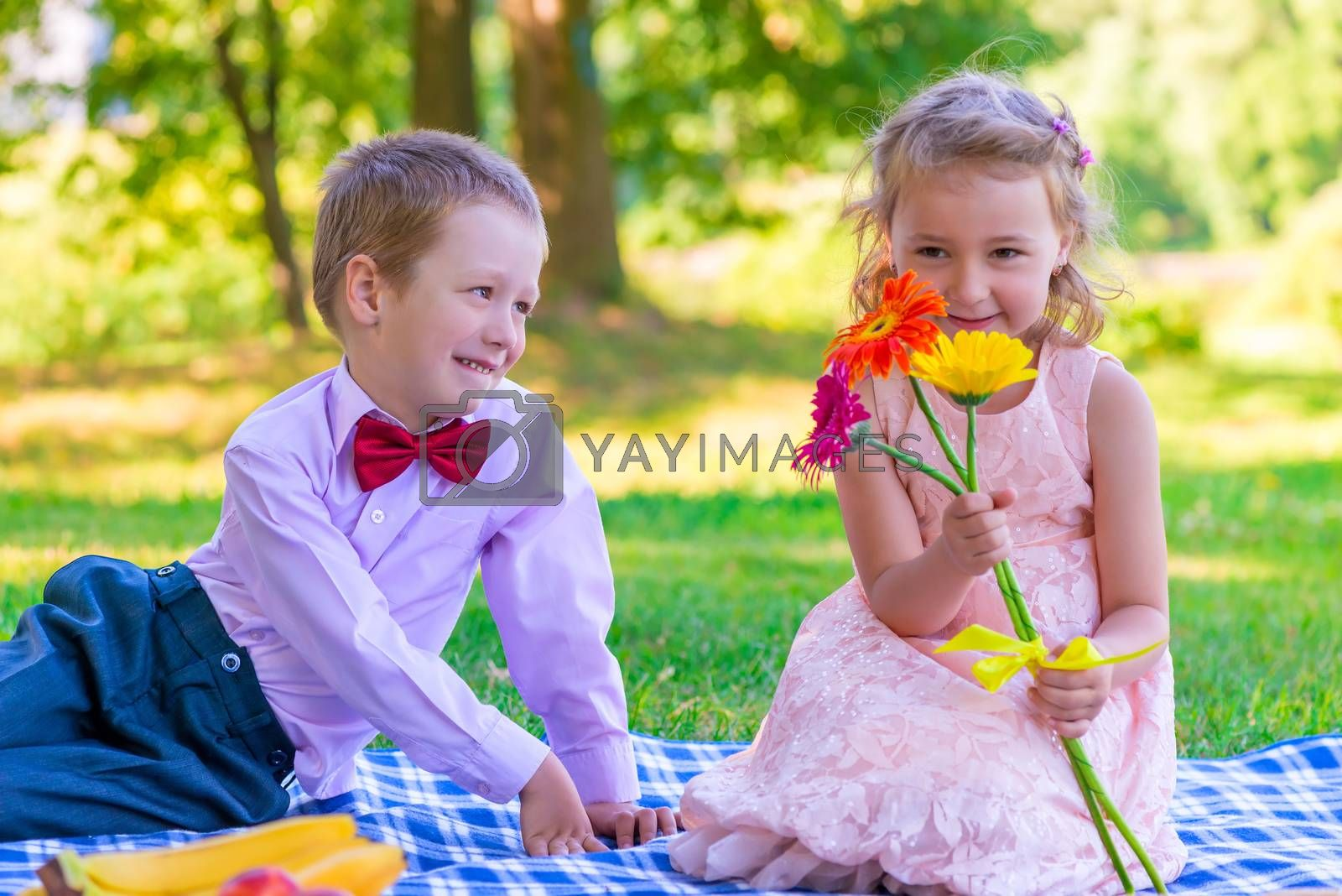 6year old children on a date in the summer park
