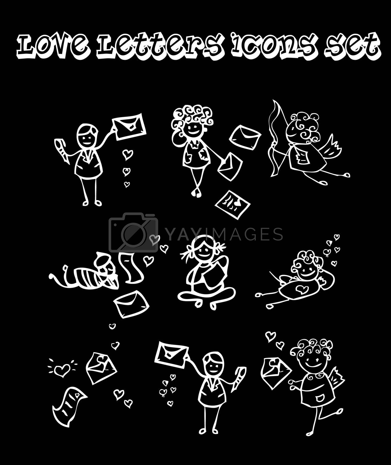Black background love letters icons set, baby style, Chalk and coal
