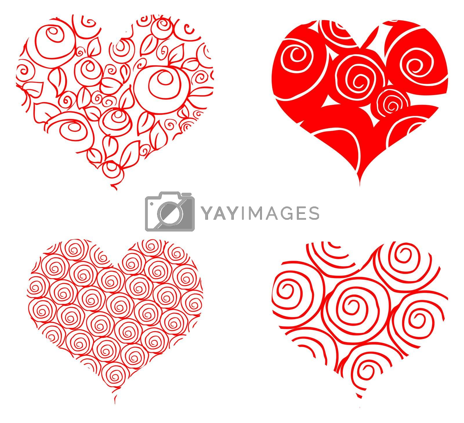 heart card, 4 curly red valentin's day symbol