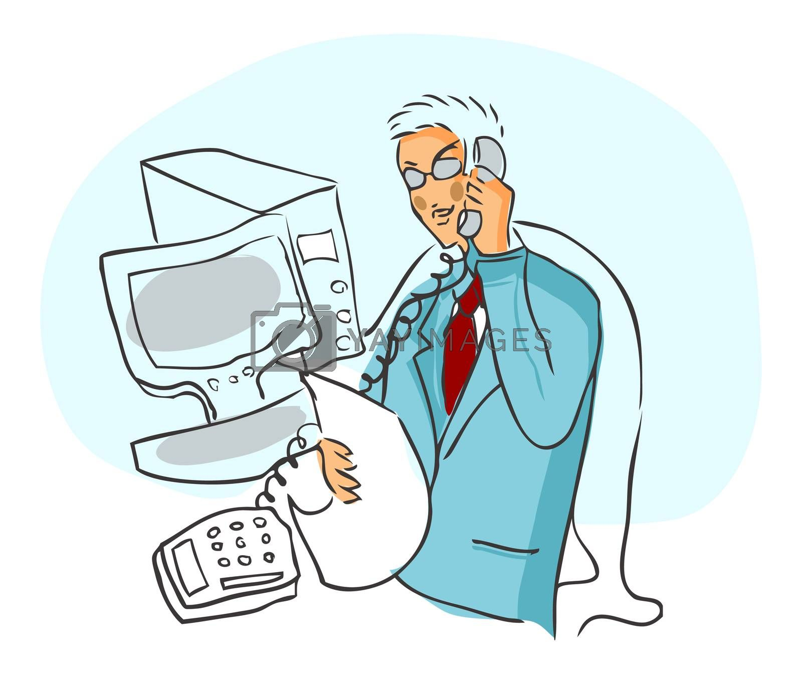 Young businessman talking by phone near computer with paper on hand, vector illustration