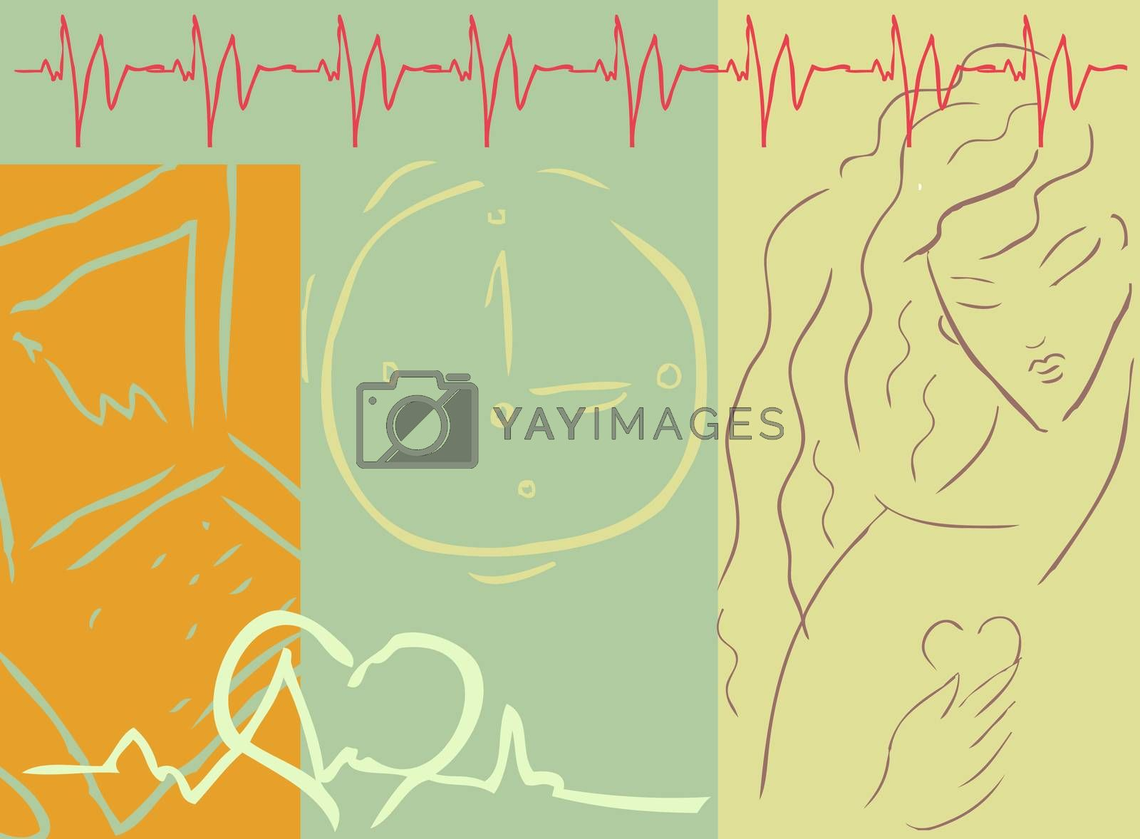 Medical cardio background with woman, heart, medical symbol