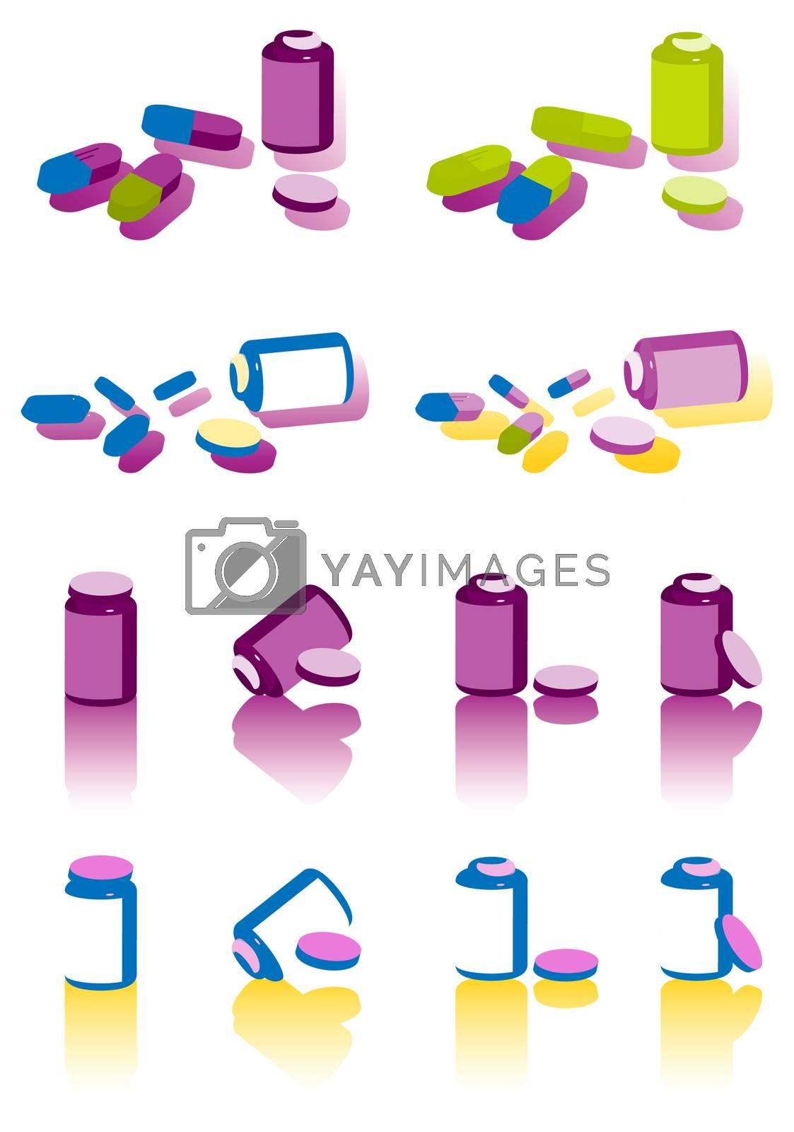 clolor pills on white background icons set, medical illustration