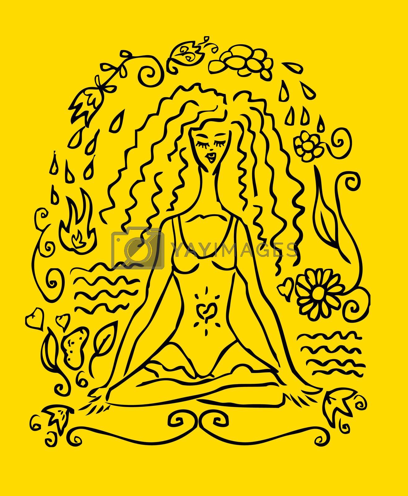 Yoga woman tattoo fake card, emblem, icon. Yellow background