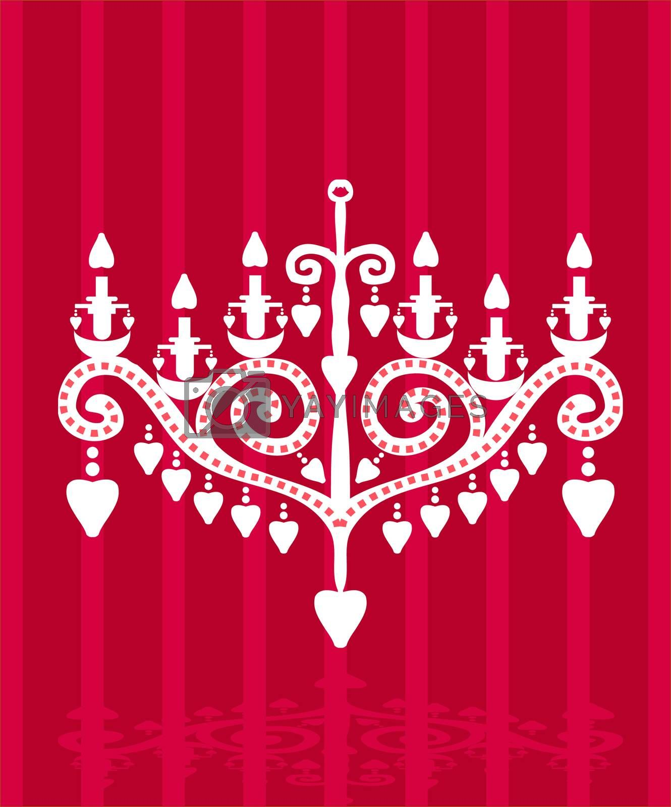 Baroque elements fake paper card, vector silhouette lamp with hearts candle