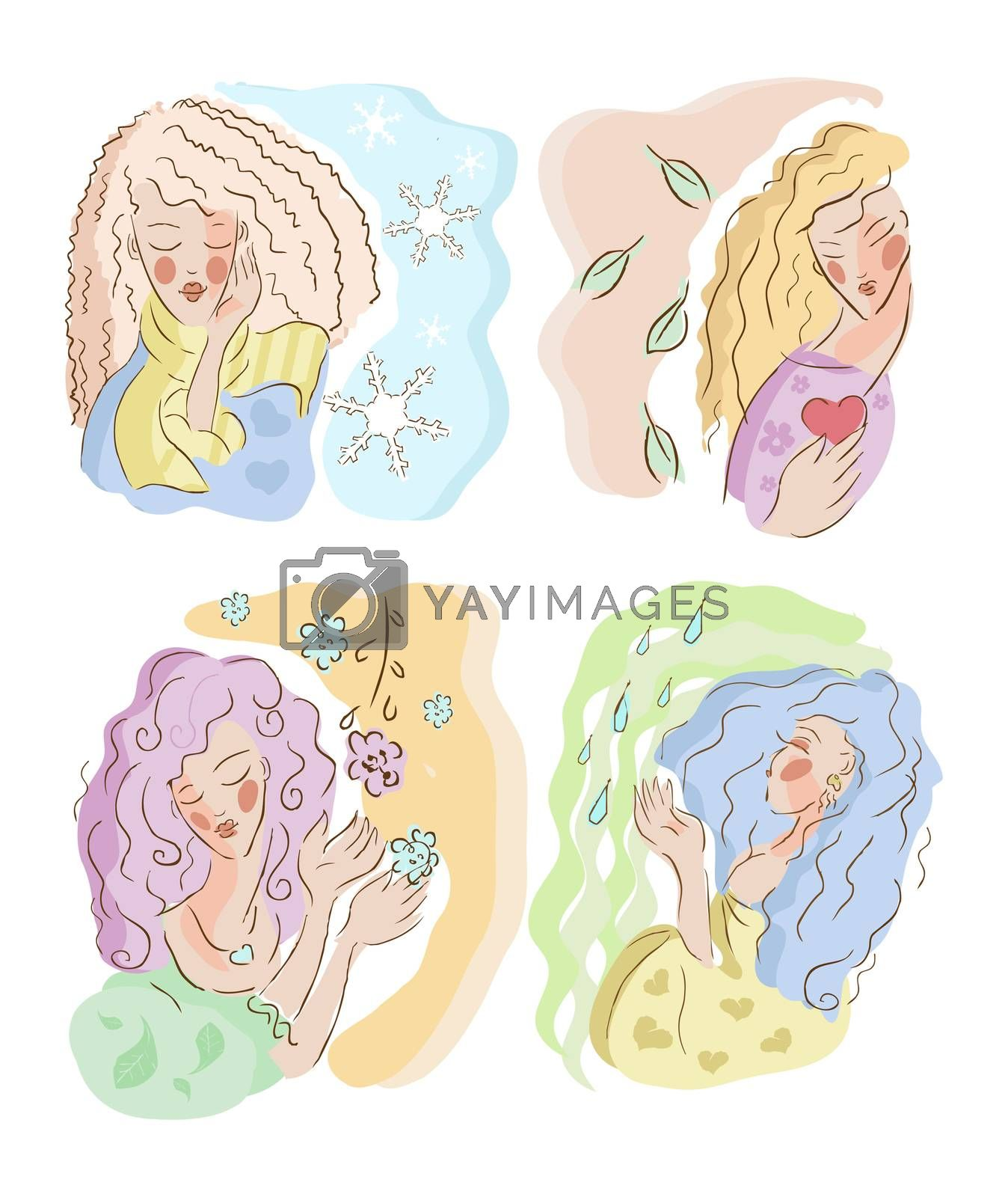 woman take care season white background isolated winter, Spring, summer, autumn, winter