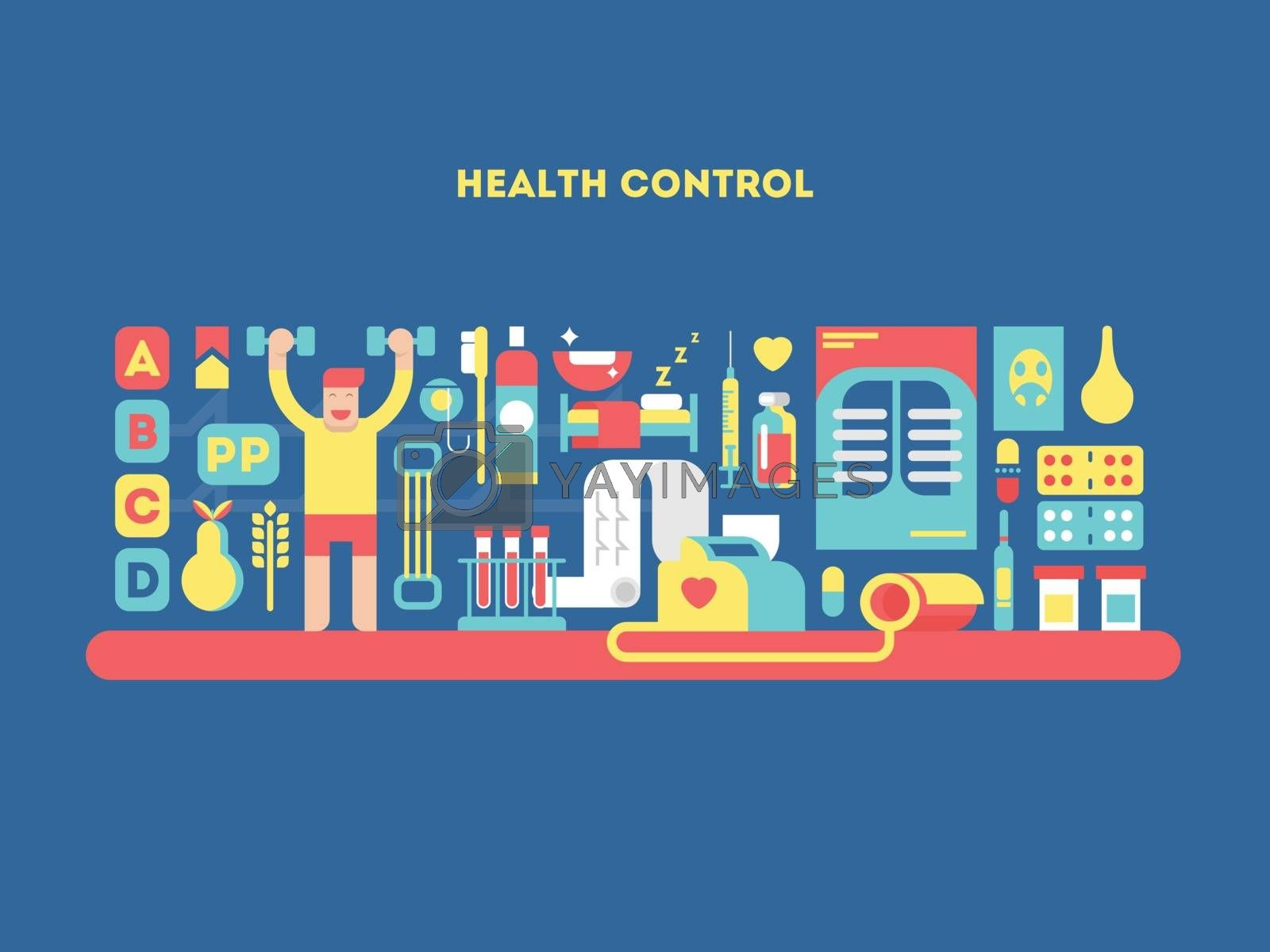 Health control design concept. Care healthcare, medicine healthy technology, vector illustration