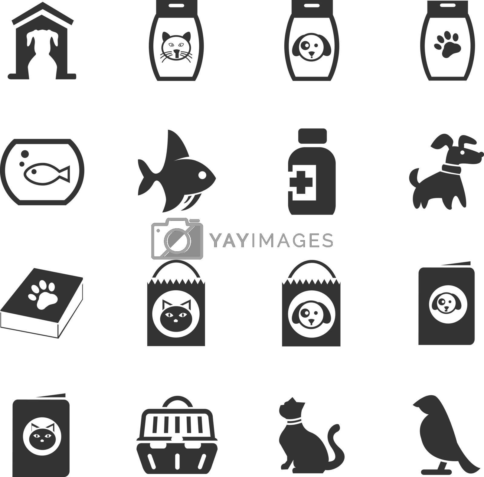 Goods for pets icon set for web sites and user interface