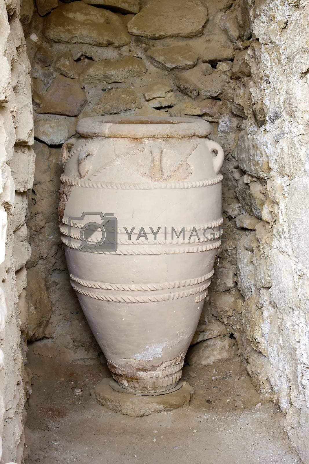 Minoan vase clay pots in Phaistos or Festos, Crete
