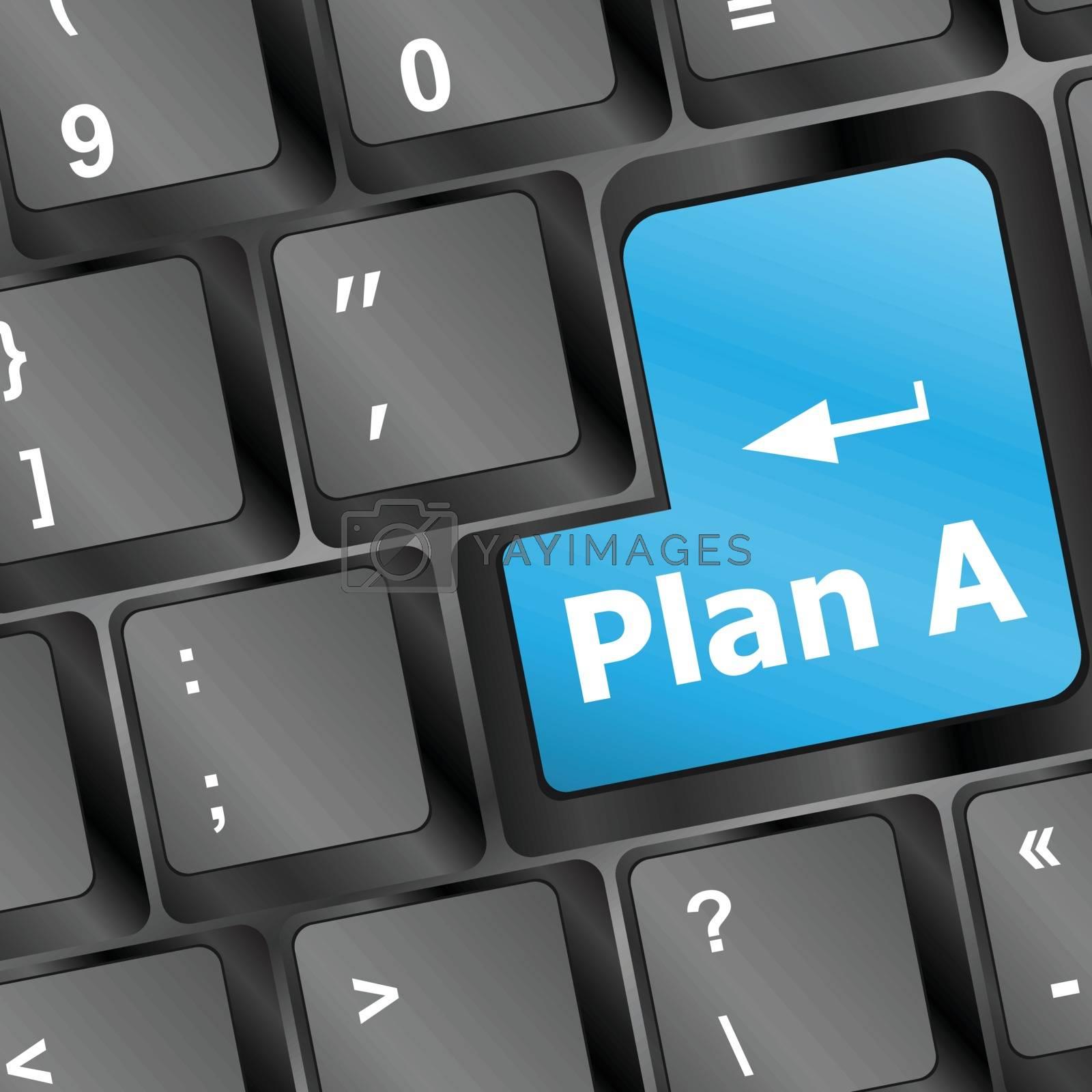 Plan A key on computer keyboard - internet business concept vector illustration