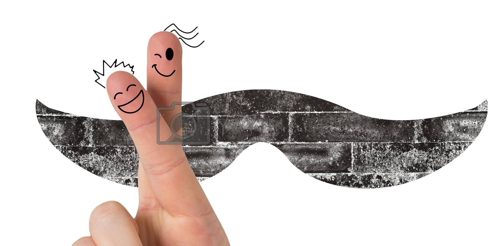 Fingers with face against icon of a mustache