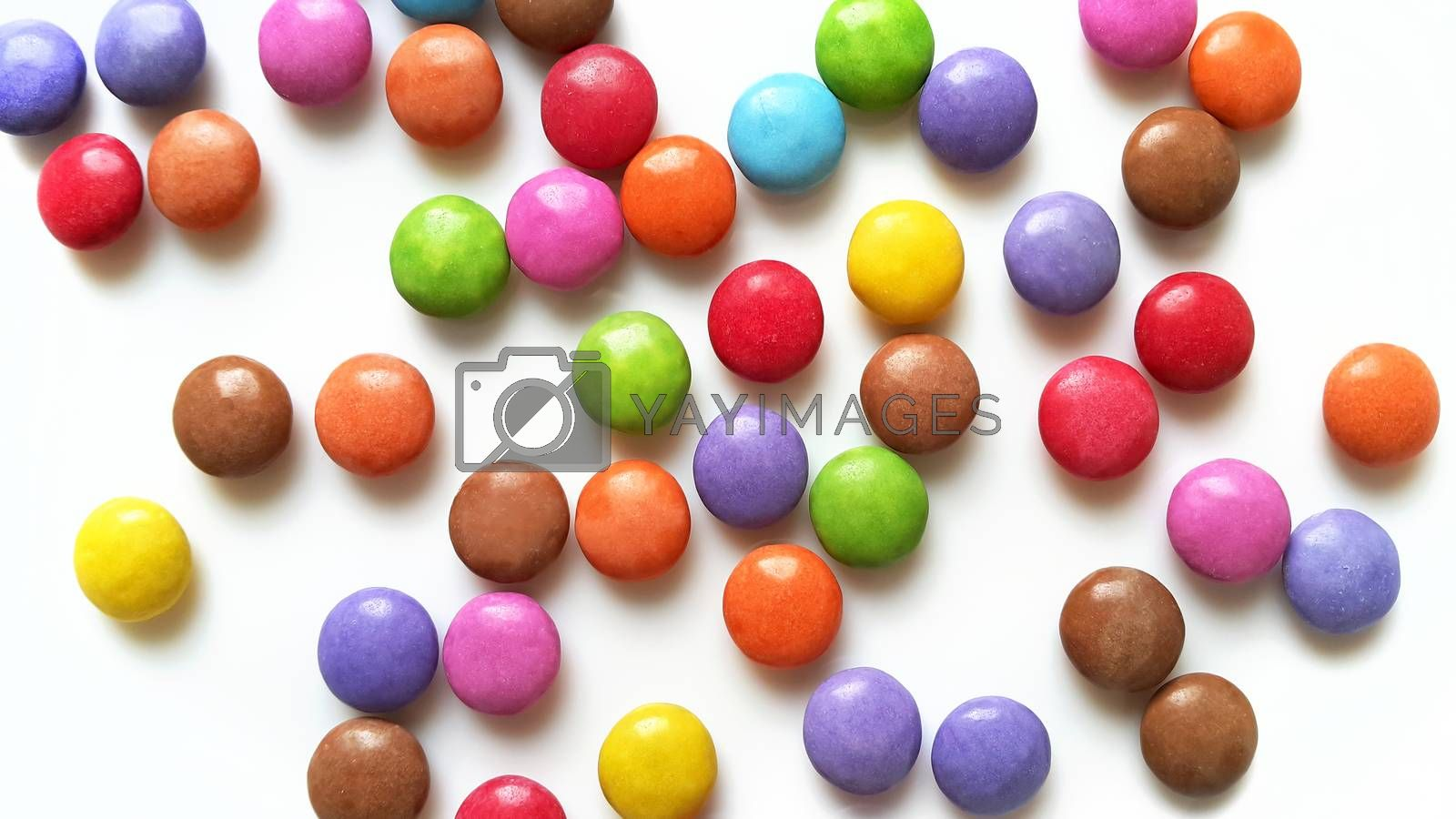 Bright color candy on white background