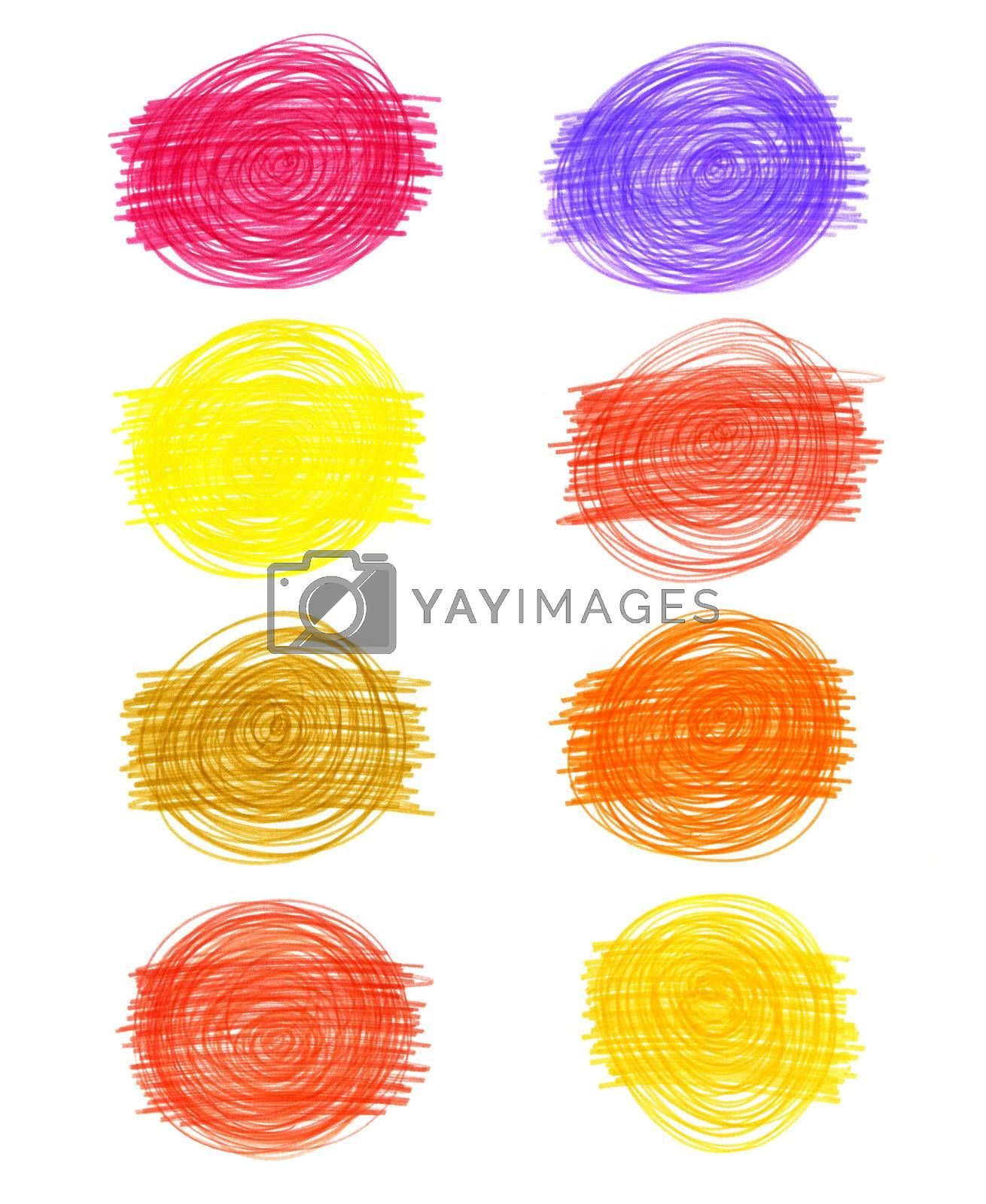Set of abstract color drawn elements on white background for design