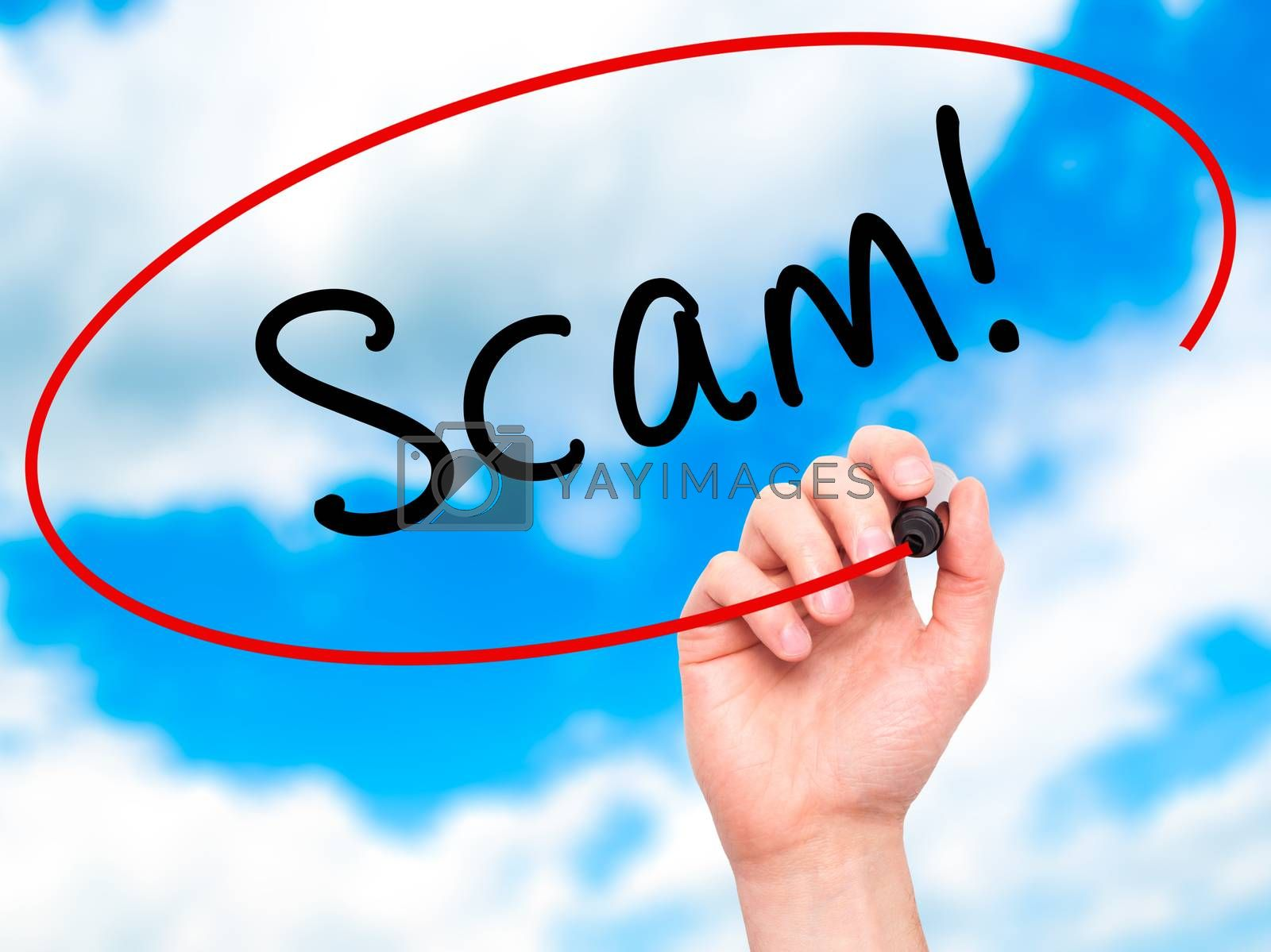 Man Hand writing  Scam! with black marker on visual screen. Isolated on sky. Business, technology, internet concept. Stock Image