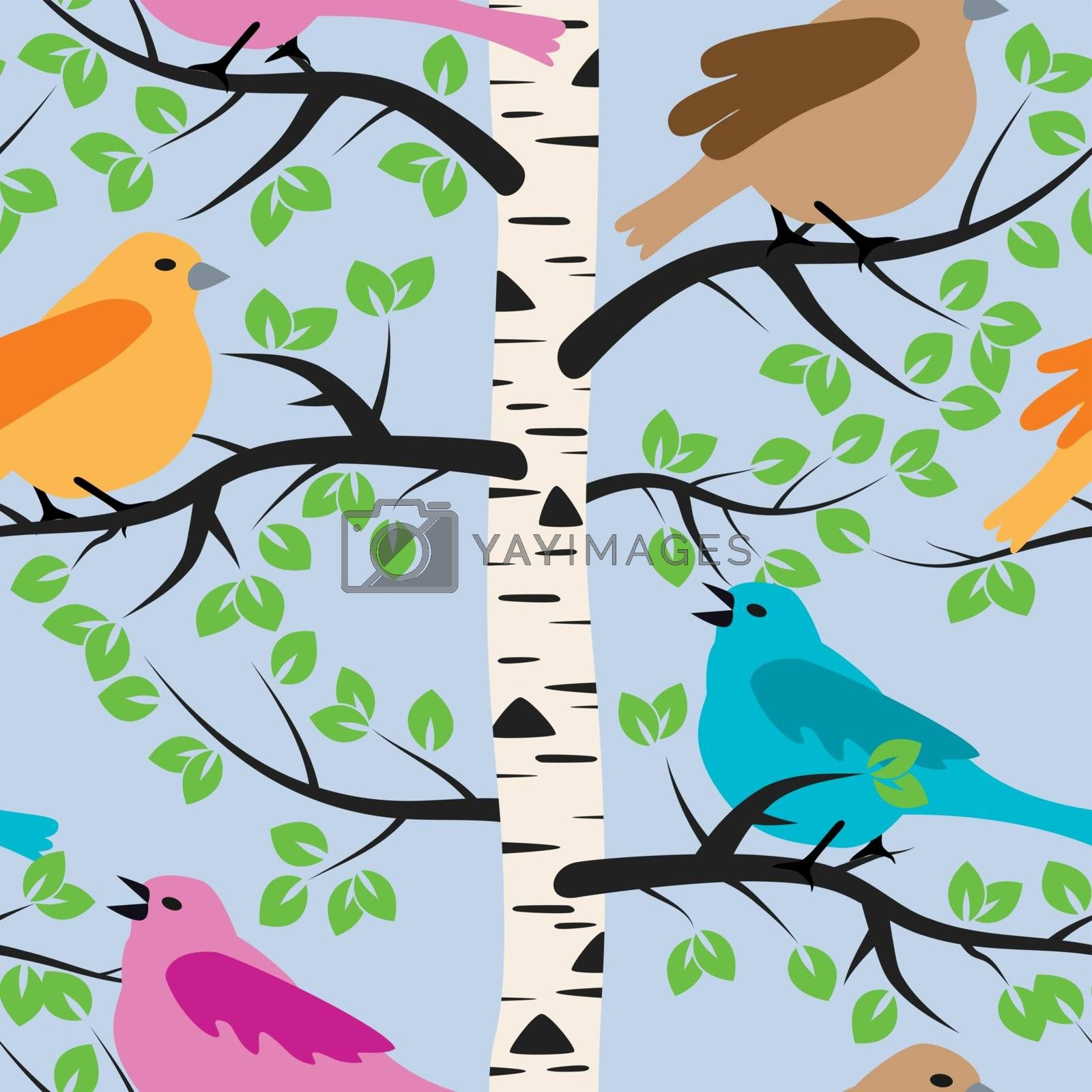 vector seamless repeating pattern with birds and birch tree