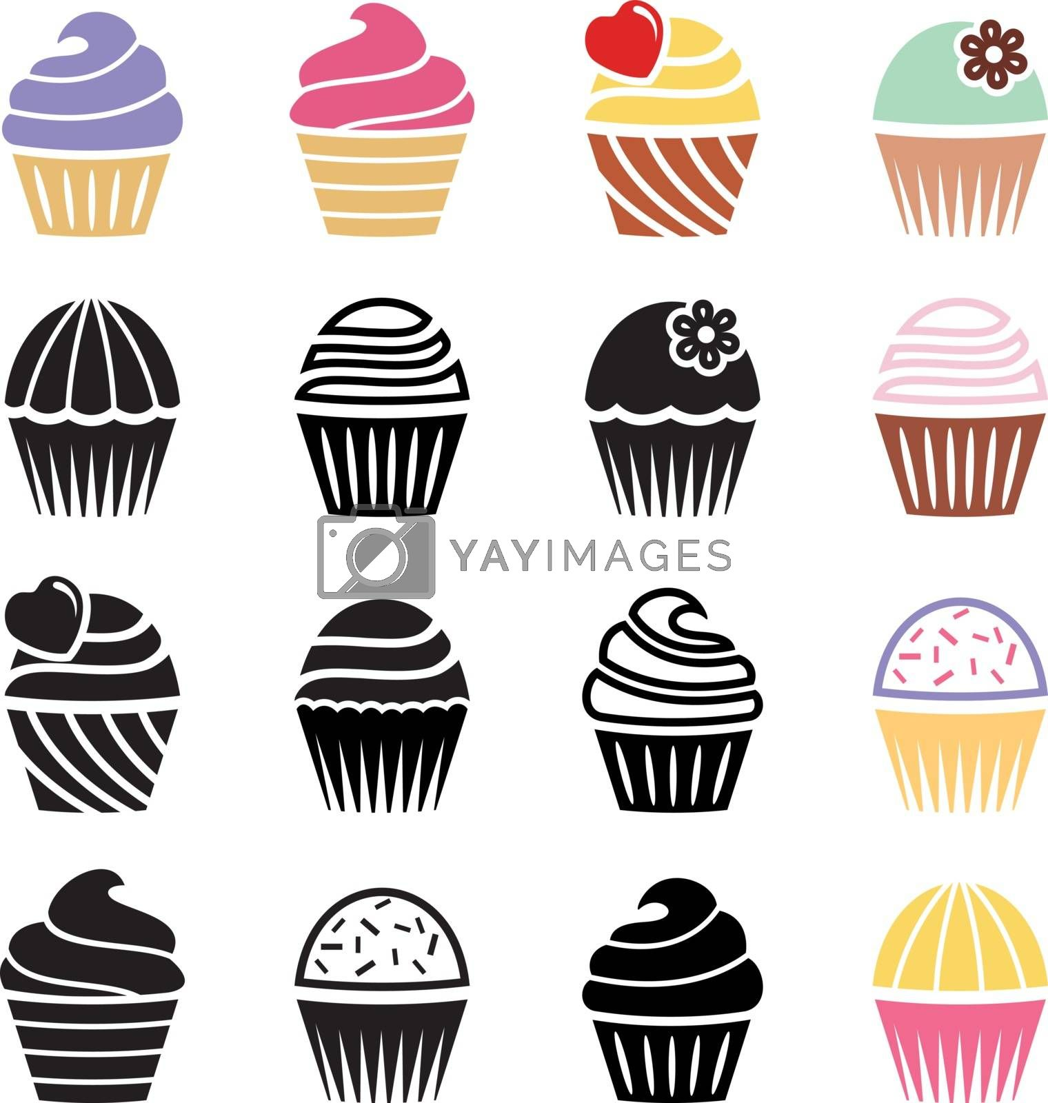 vector collection of black and white and colorful cupcake icons