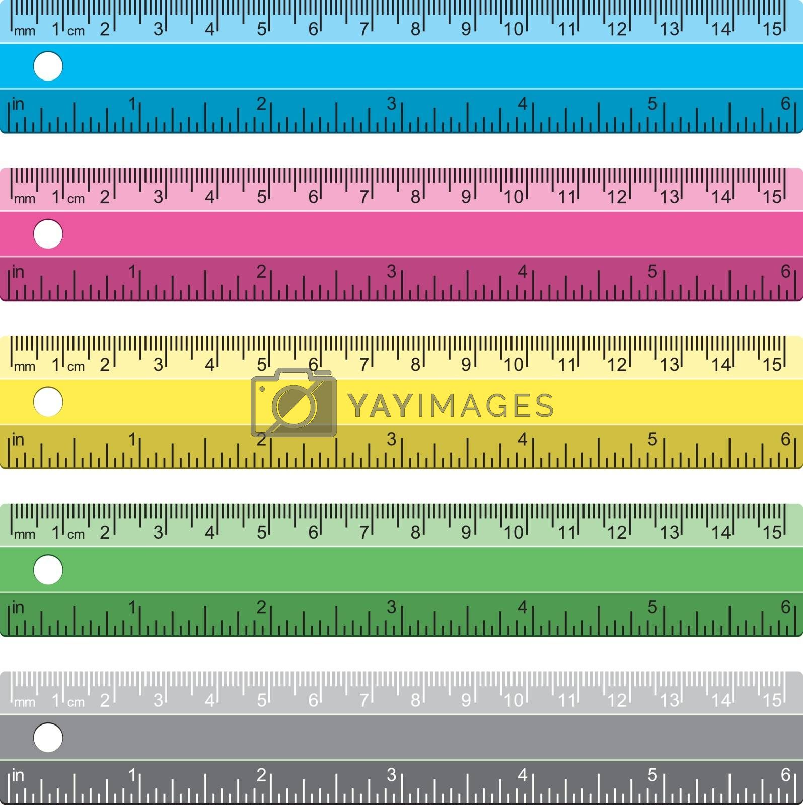 vector set of plastic school rulers in millimeters, centimetres and inches