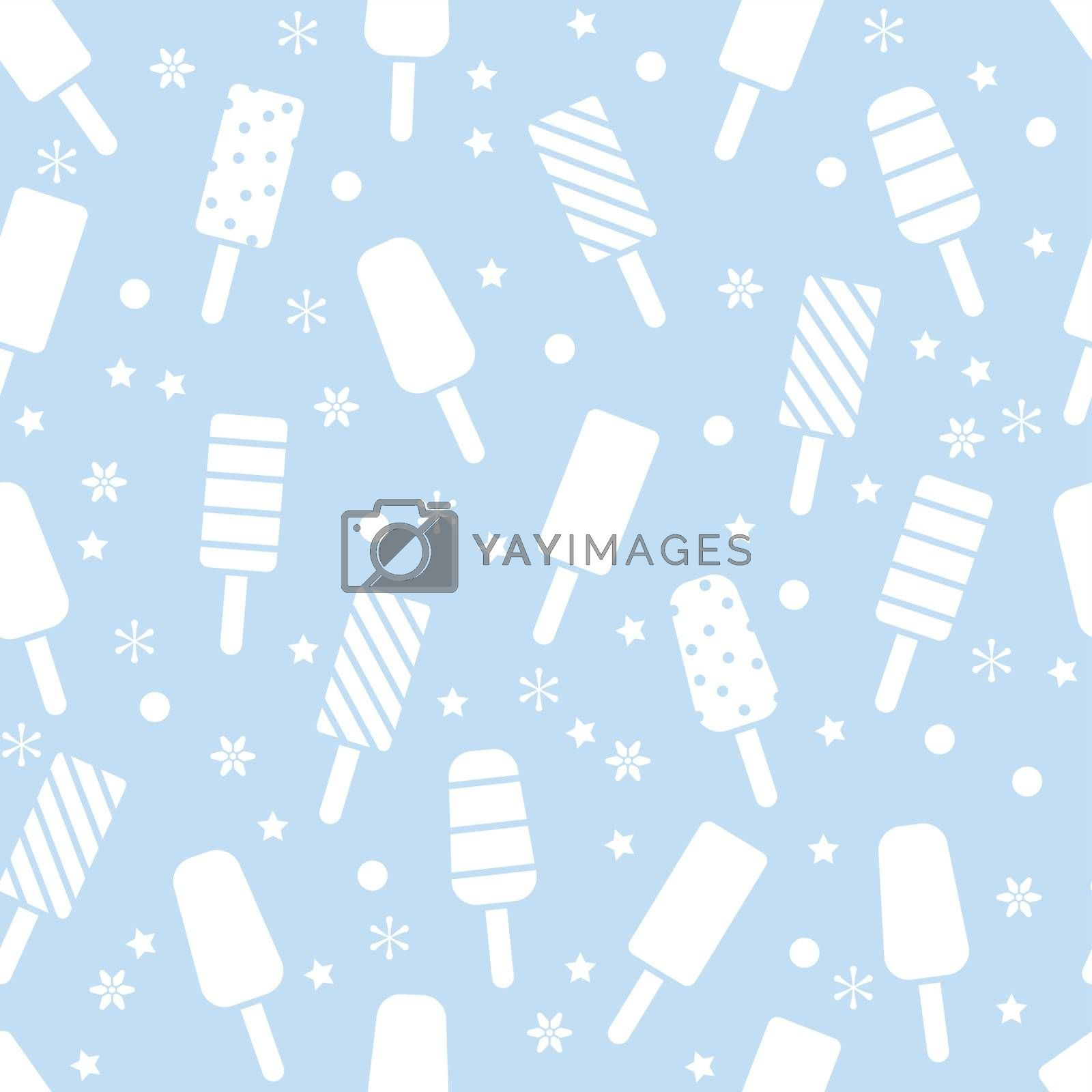 vector seamless icecream pattern with popsicles