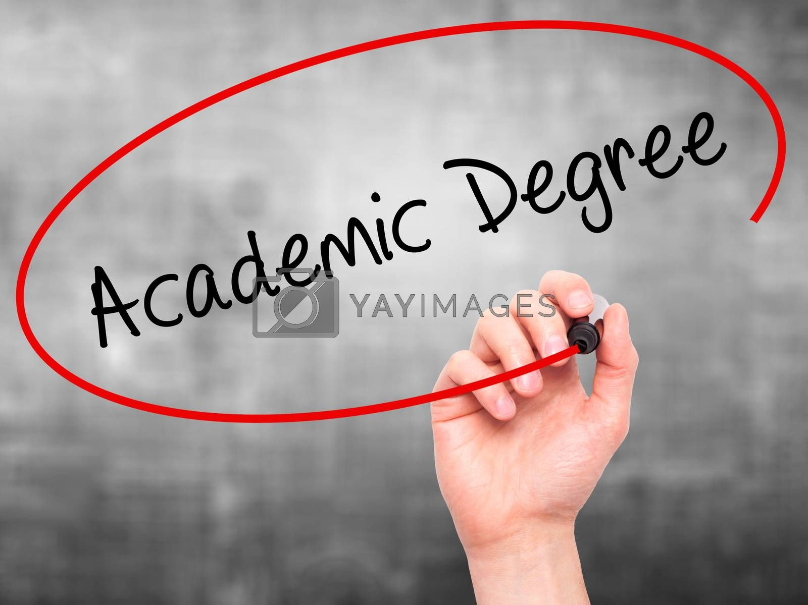 Man Hand writing Academic Degree with black marker on visual screen. Isolated on grey. Business, technology, internet concept. Stock Photo