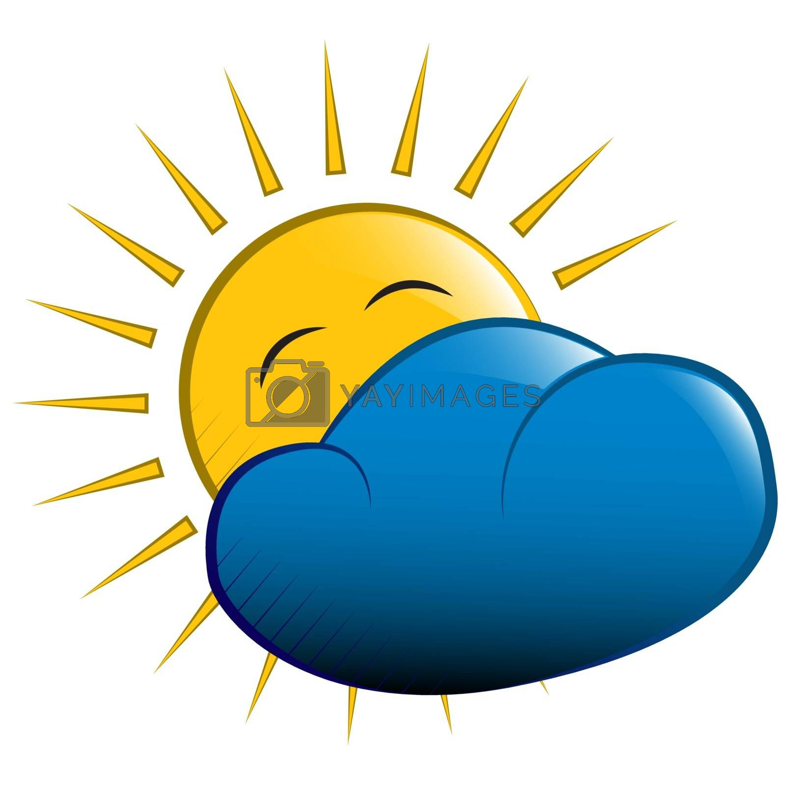 vector illustration. yellow sun behind a cloud