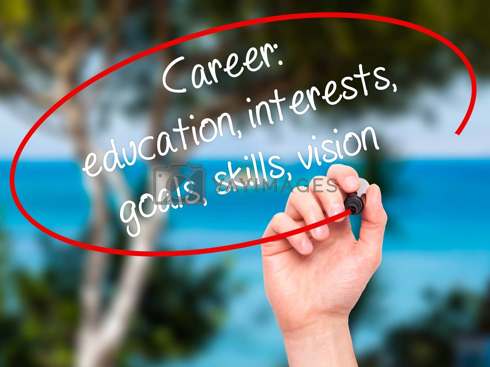 Man Hand writing Career: education, interests, goals, skills, vision with black marker on visual screen. Isolated on nature. Business, technology, internet concept.