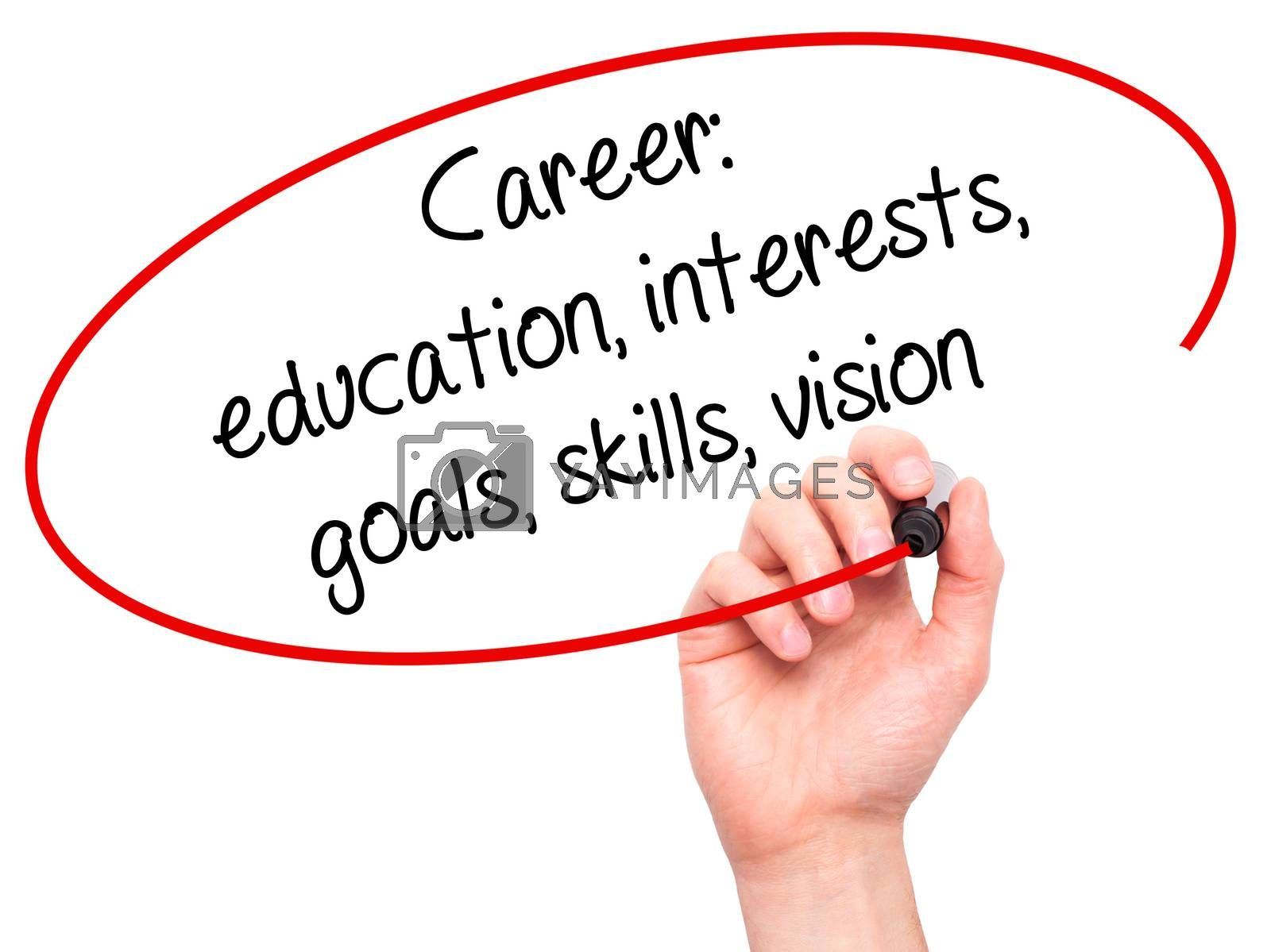 Man Hand writing Career: education, interests, goals, skills, vision with black marker on visual screen. Isolated on white. Business, technology, internet concept.