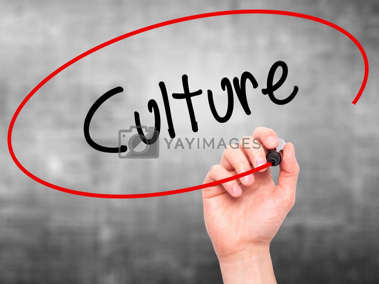 Man Hand writing Culture with black marker on visual screen. Isolated on grey. Business, technology, internet concept. Stock Photo