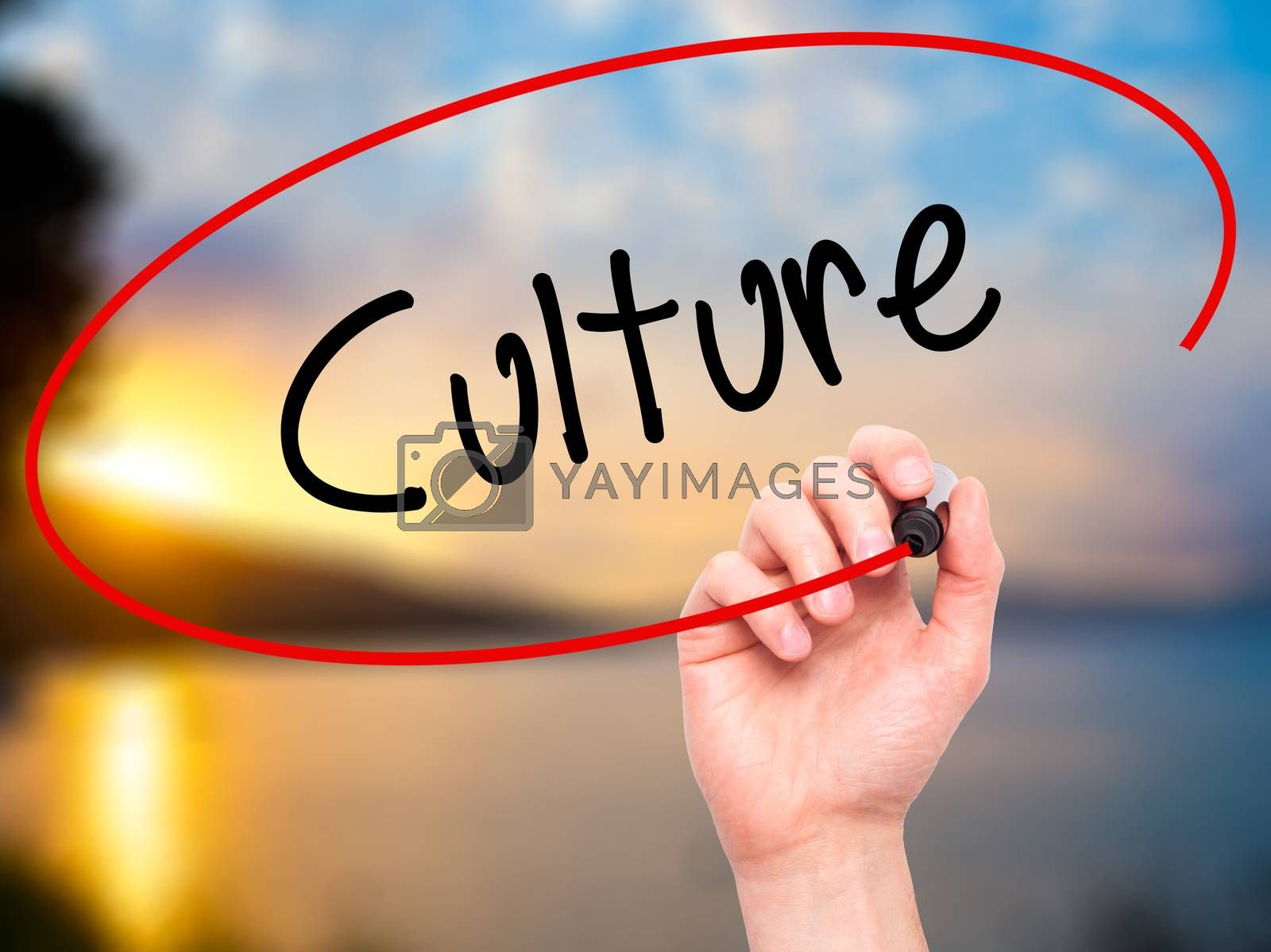 Man Hand writing Culture with black marker on visual screen. Isolated on nature. Business, technology, internet concept. Stock Photo