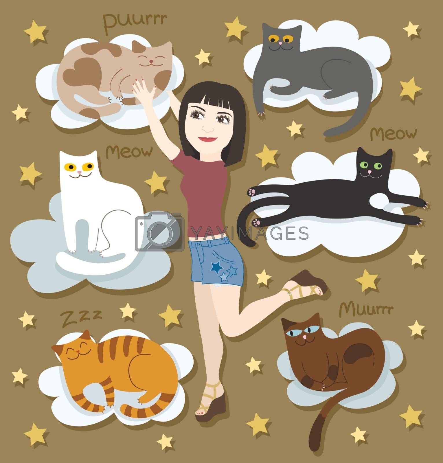 Girl with funny cats on clouds