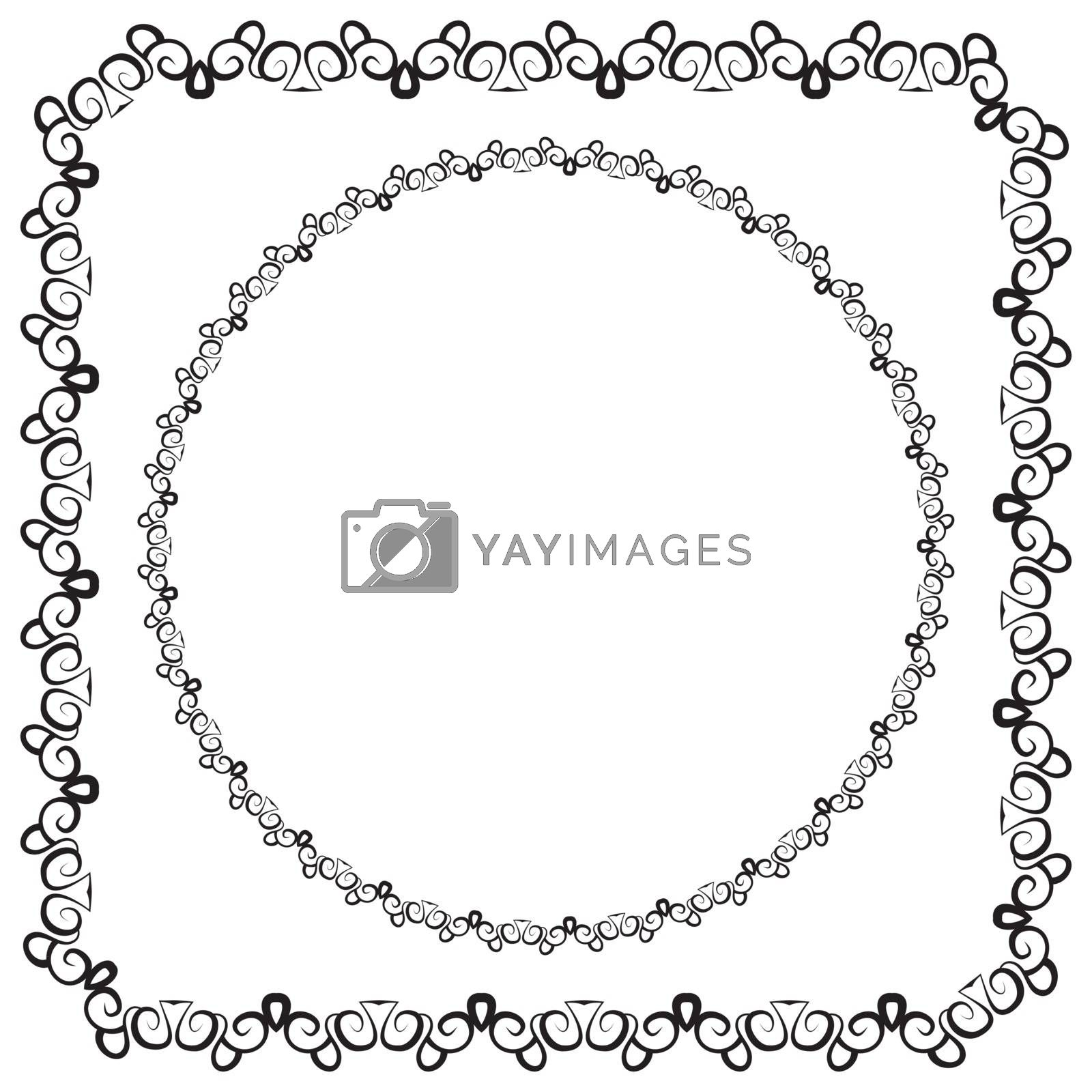 vector illustration. set. square and round decorated frame. black on a white background
