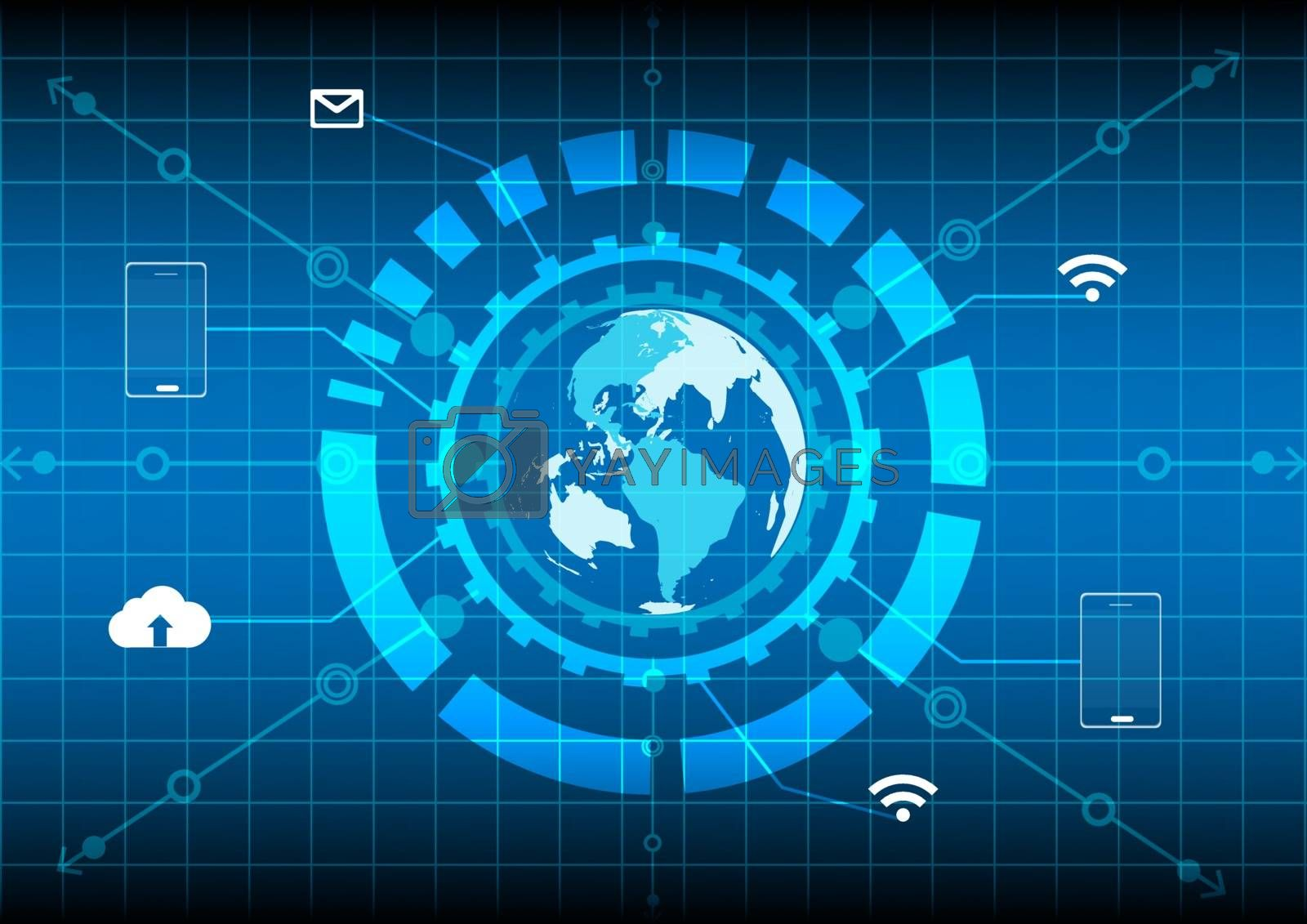 world map circle network internet mobile cloud technology on blue background