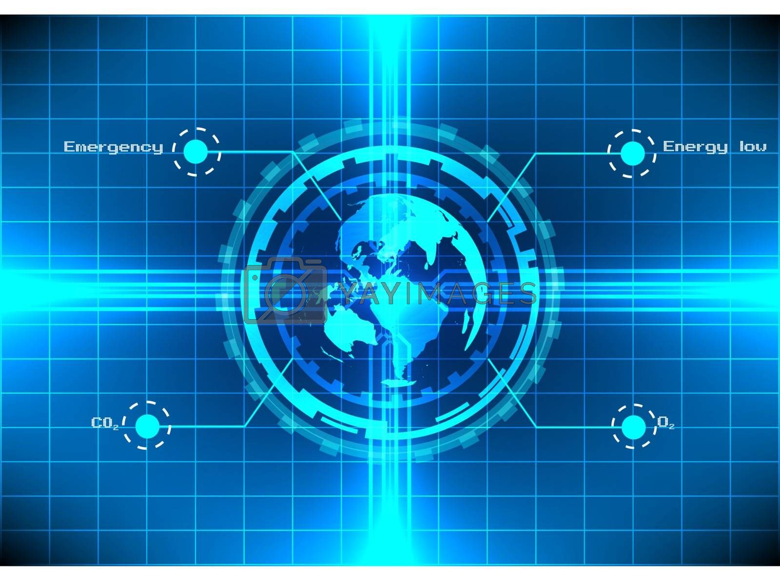 world circle technology light effect on blue background