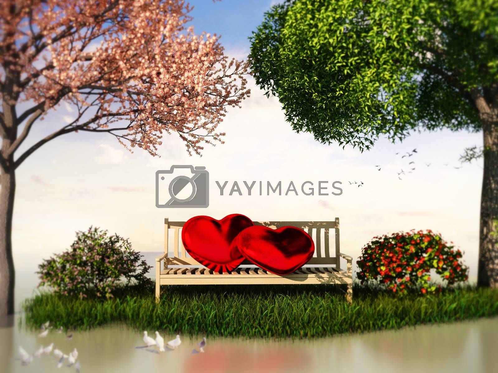 3D Valentin  view for love and romance with heart shape, beautiful summer and spring trees and some birds.
