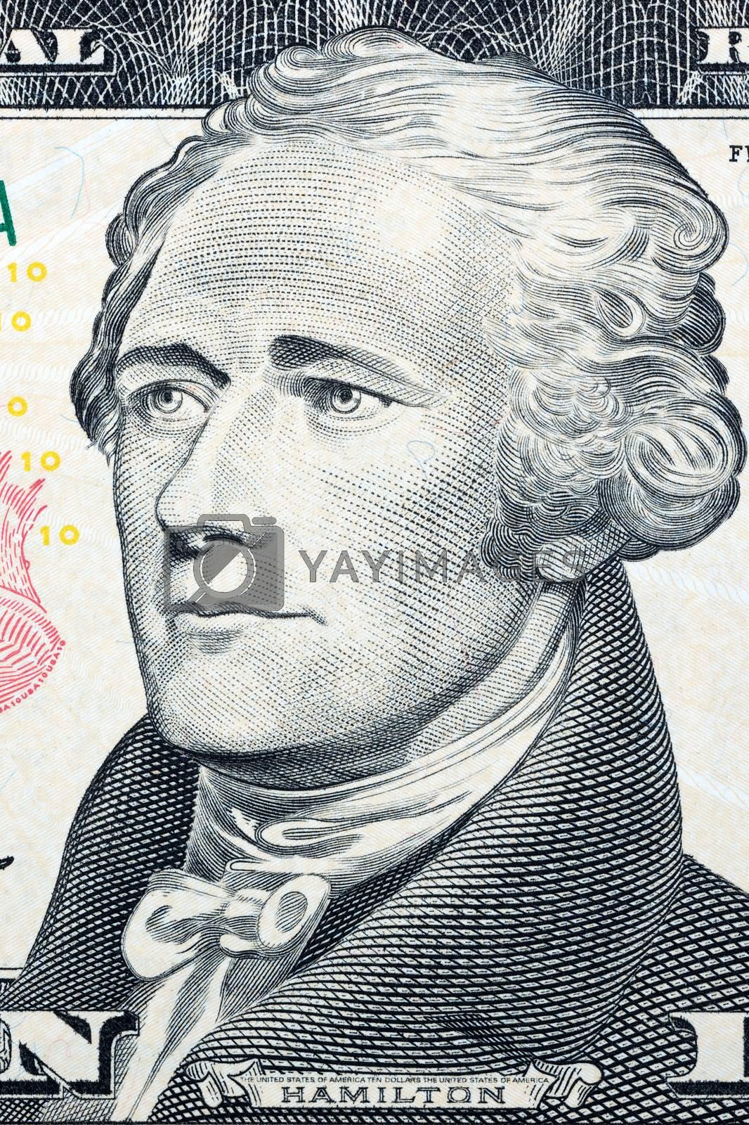 Alexander Hamilton, portrait on US ten dollars