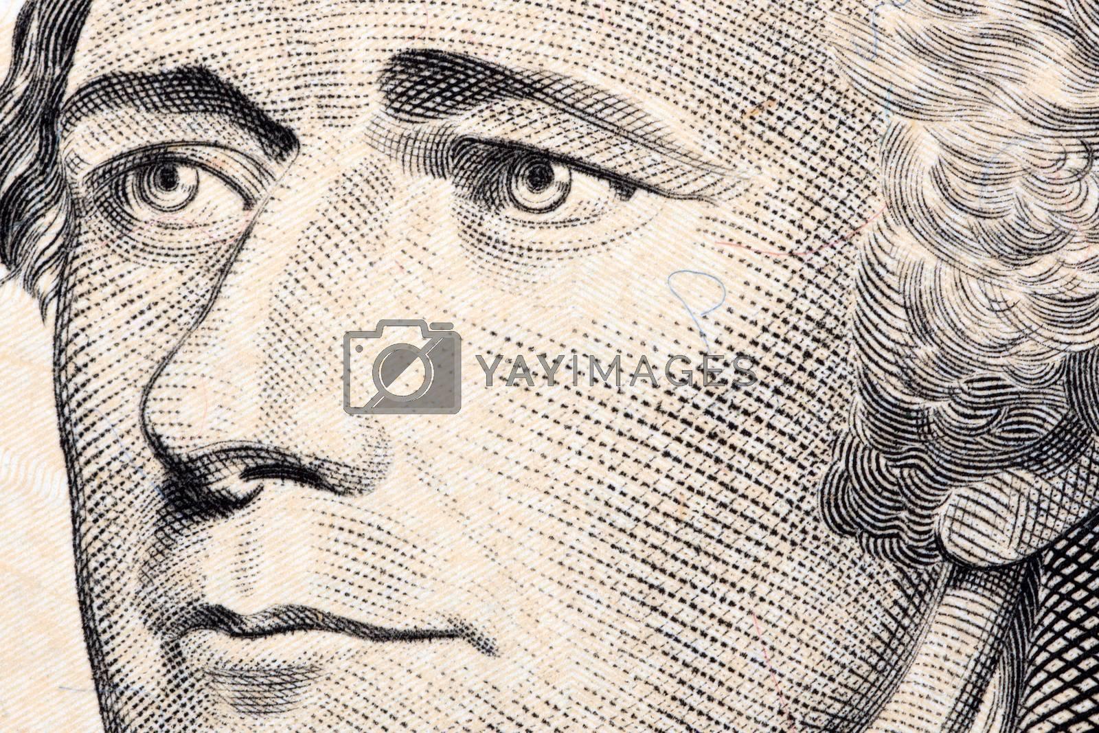 Alexander Hamilton, a close-up portrait on US ten dollars