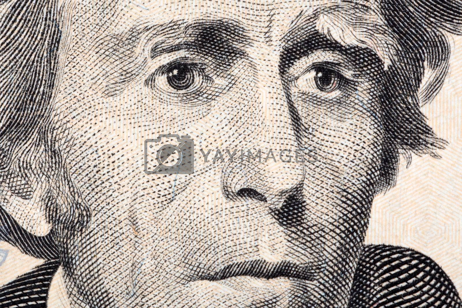 Andrew Jackson a close-up portrait on US twenty dollars