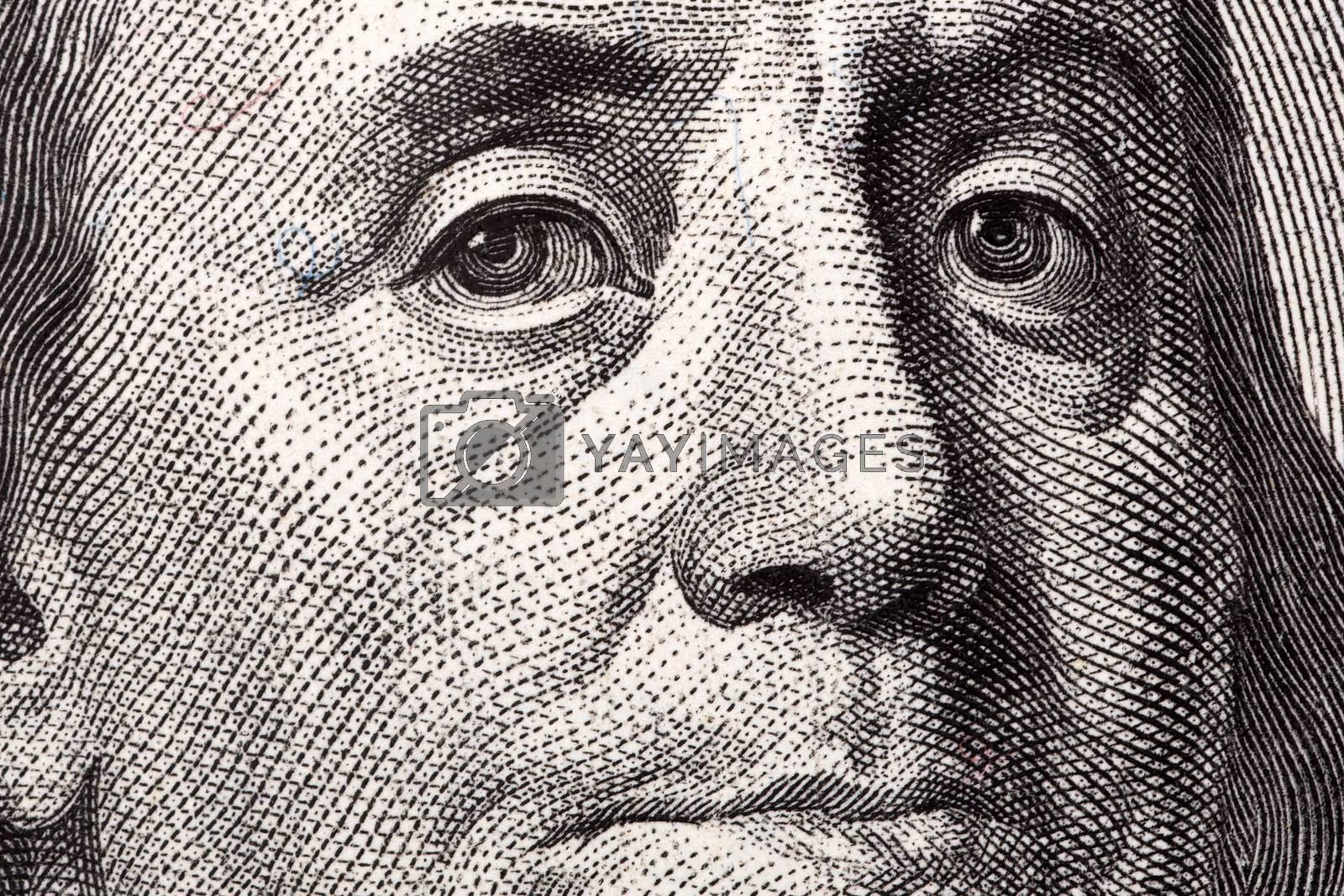 Benjamin Franklin, a close-up portrait on US hundred dollars