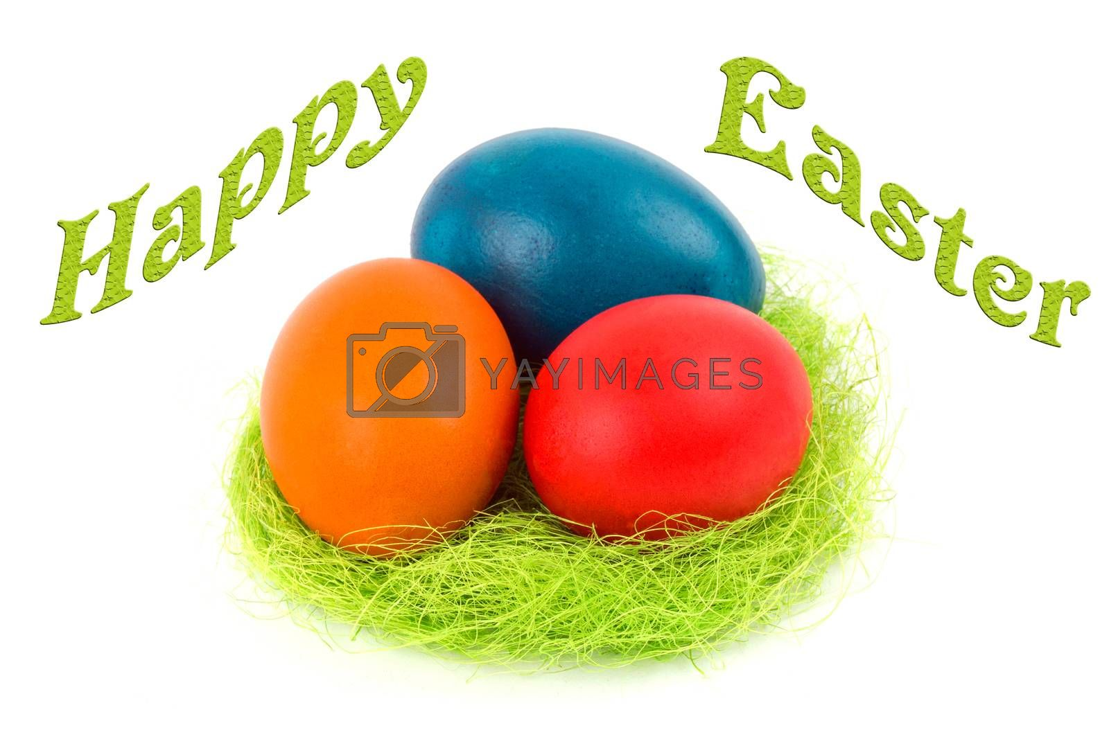 Happy Easter - Easter eggs in the nest on a white background