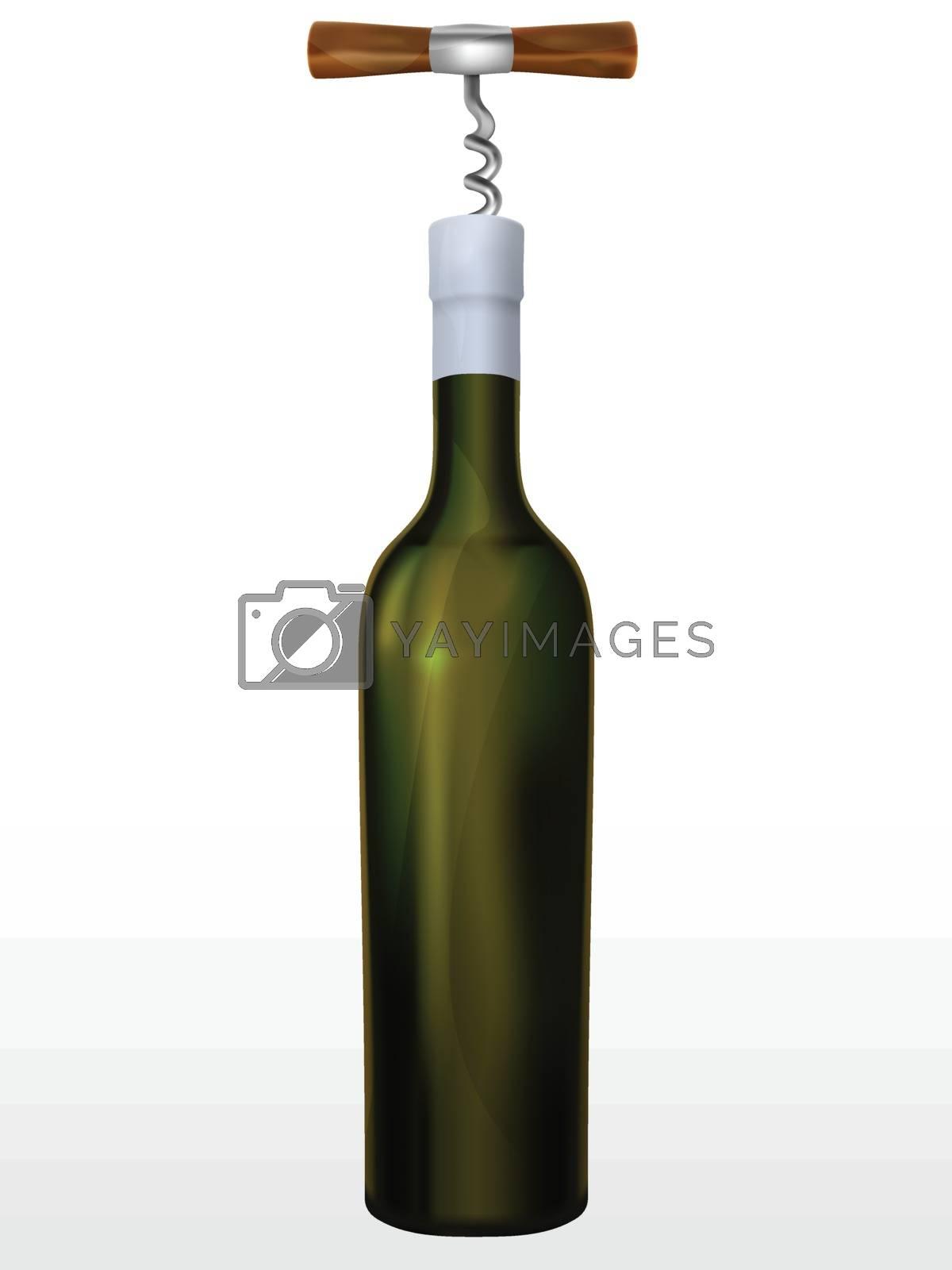 Bottle of wine and corkscrew in a vector mesh gradient