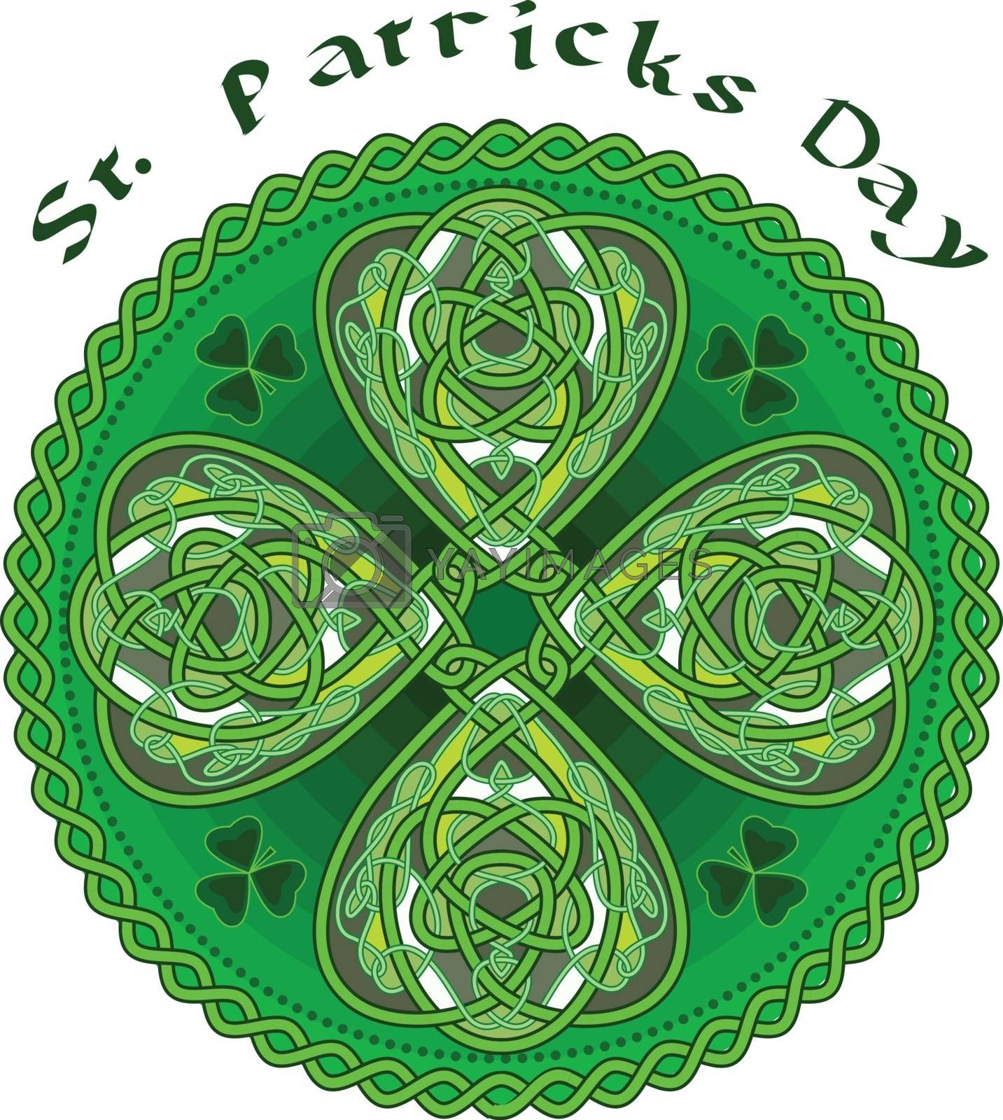 Happy leaf clover in celtic style at date of sacred Patrick - a vector