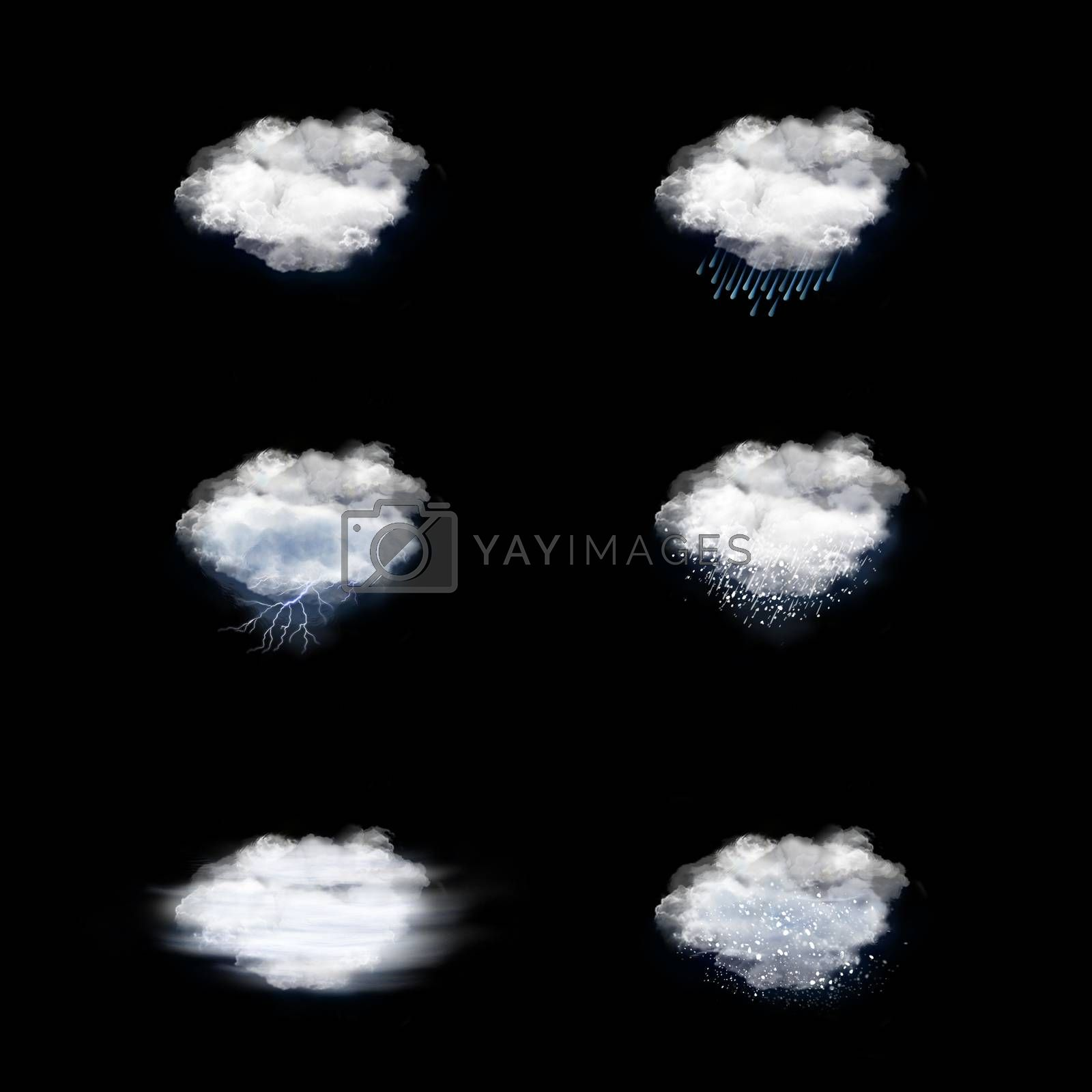 Weather Forecast Icons Set, on a black background