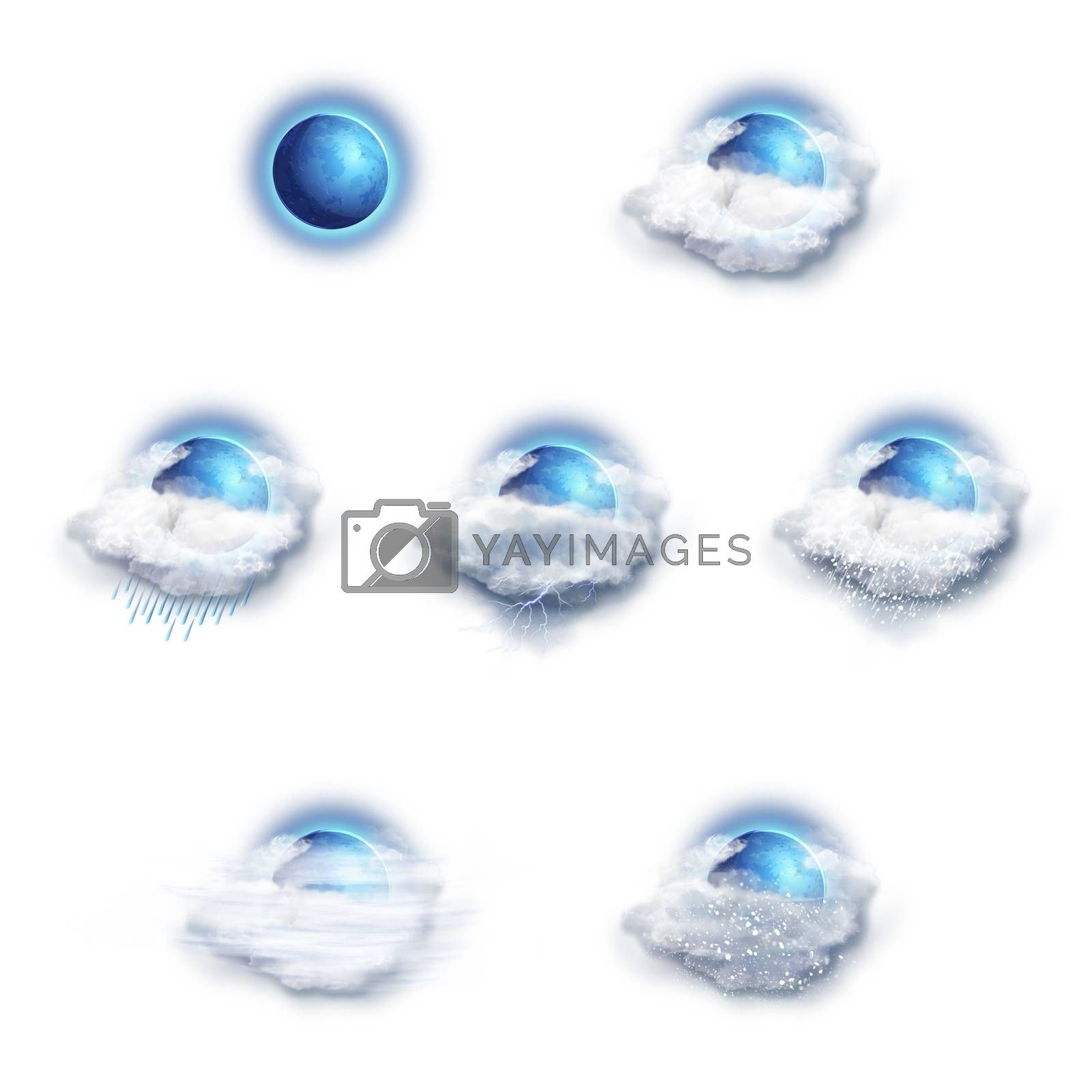 Weather Forecast Icons Set, on a white background