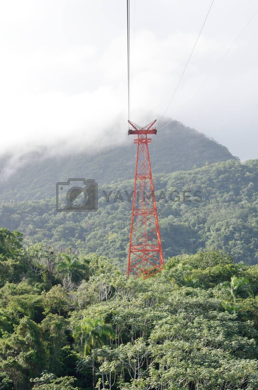 Cable car mechanism in Jungle Puerto Plata