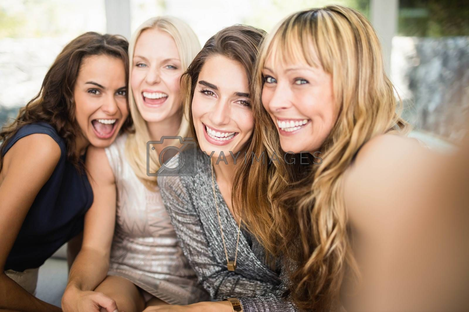 Portrait of beautiful women having fun at party