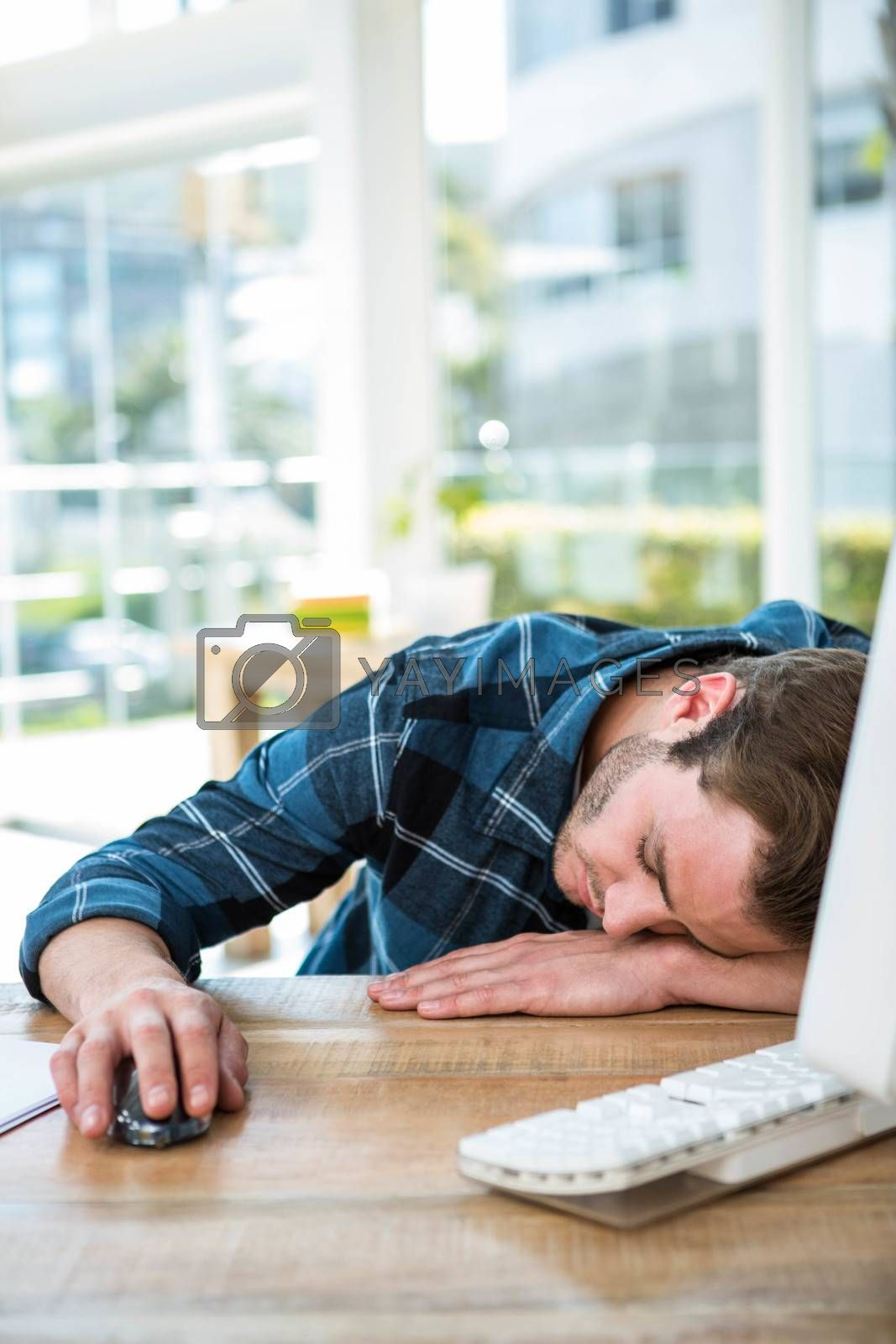 Handsome man sleeping on computer in a bright office