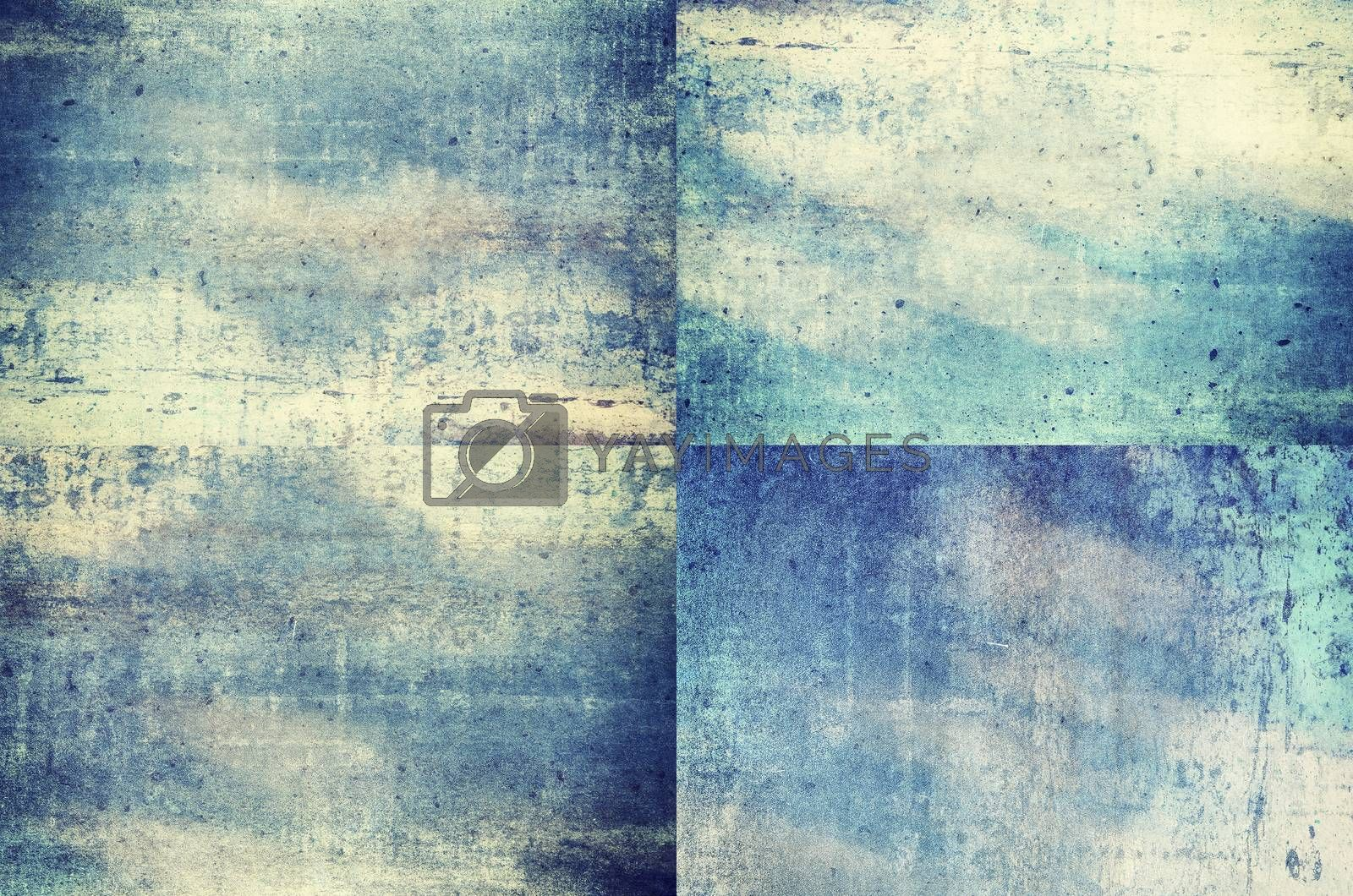 Four blue colored grunge texture backgrounds in one set