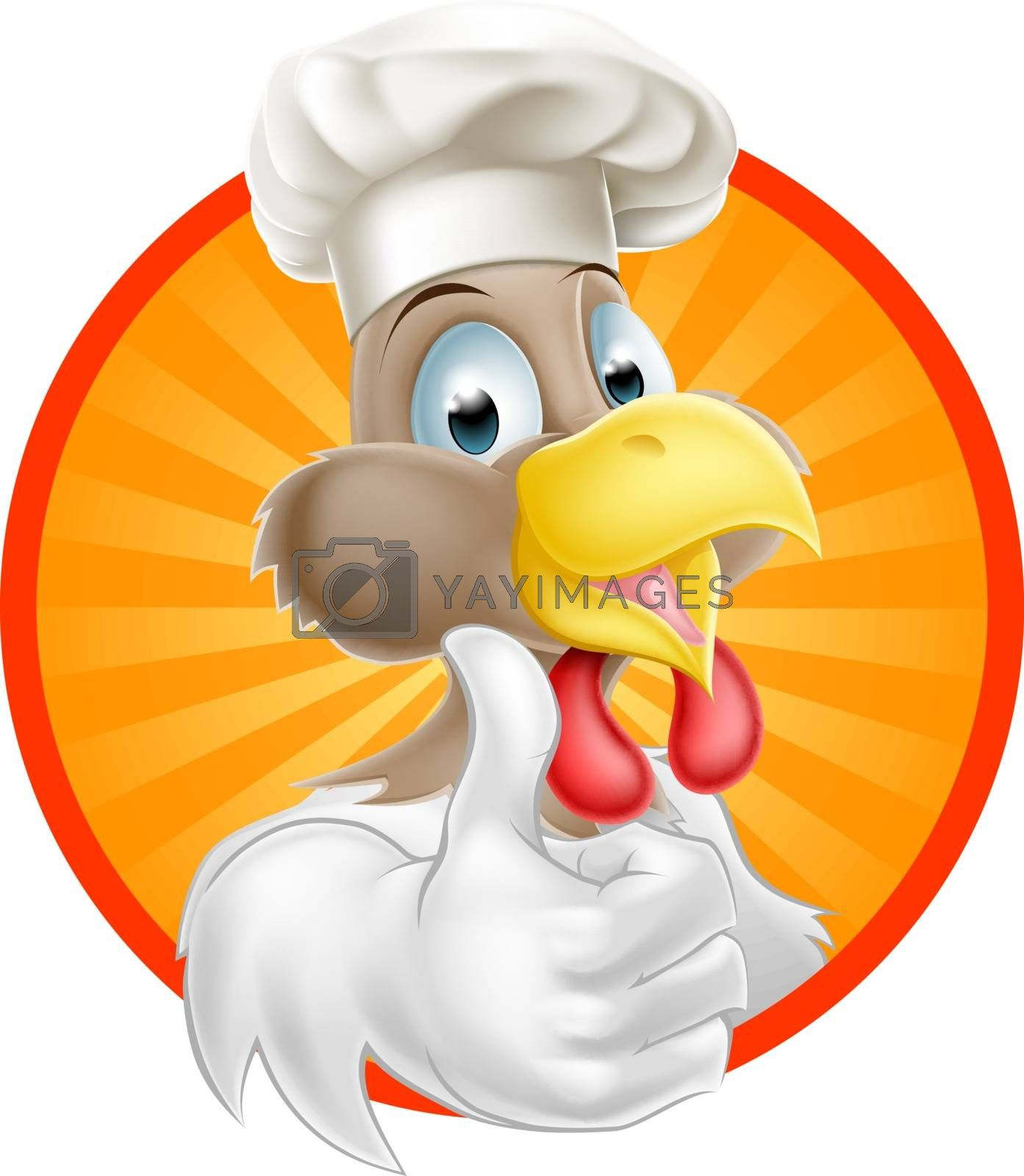 Cartoon chicken or rooster wearing a chef hat and giving a thumbs up