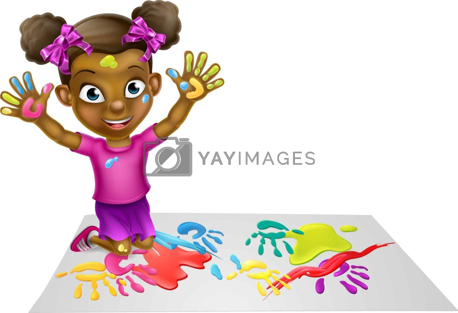 Cartoon girl child playing with paints and having fun